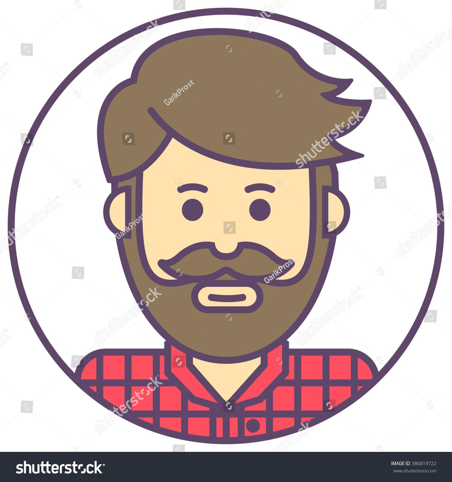 Vector Hipster Avatar Man Beard Icon Stock Vektor ...