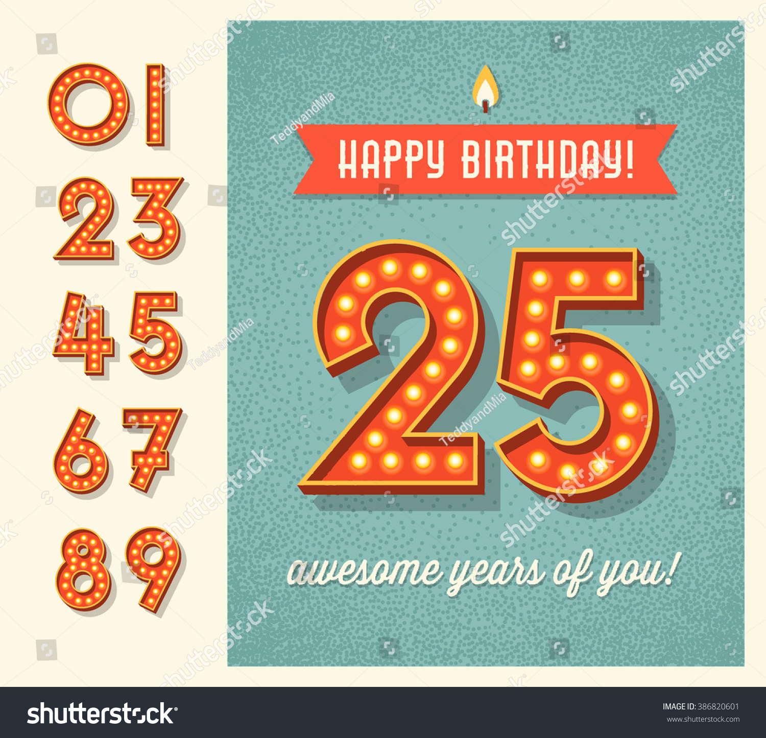 Happy Birthday Card Or Banner Design With Set Of Lighted Retro Numbers Easy To Edit