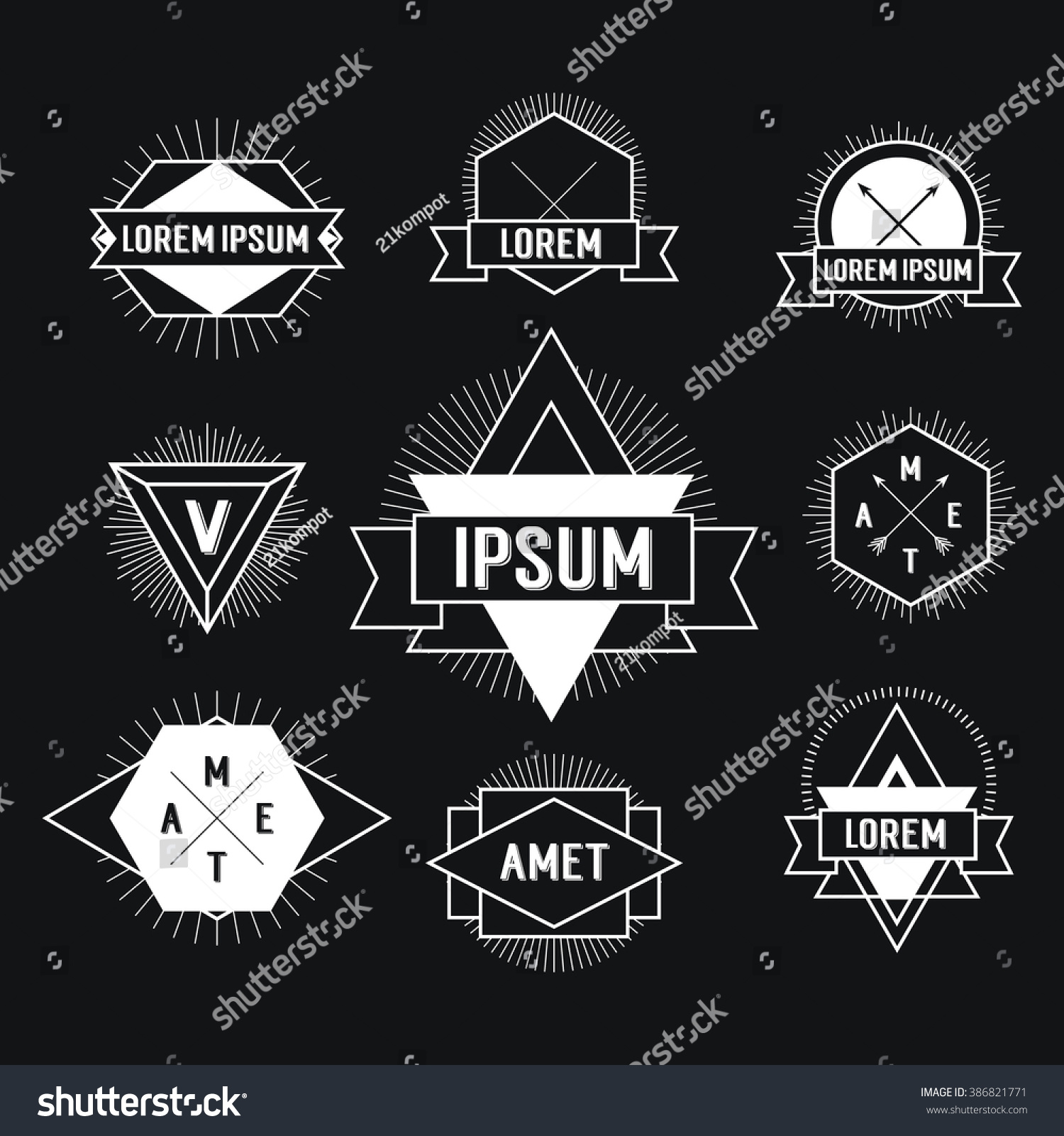Black White Hipster Logo Labels Isolated Stock Illustration ...