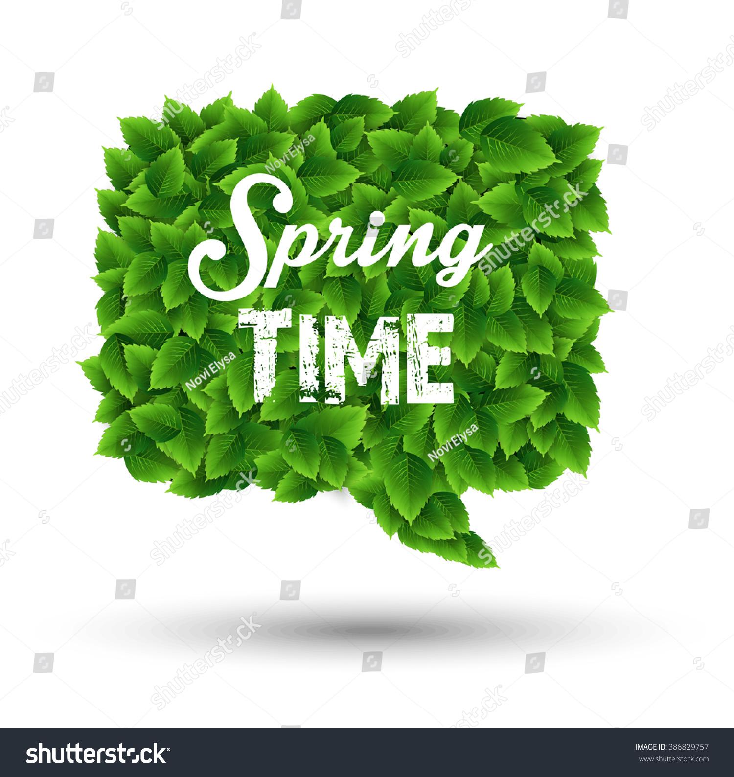 Springtime Greeting In A Speech Bubble Of Green Leavesctor Ez