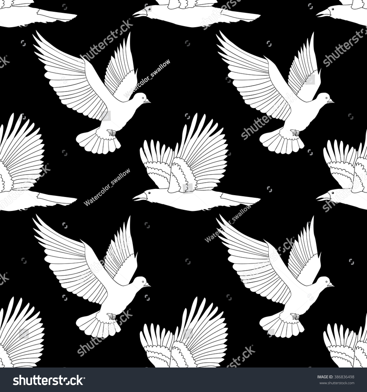 Seamless Pattern With Flying Raven And Dove Anti Stress Coloring Page Birds