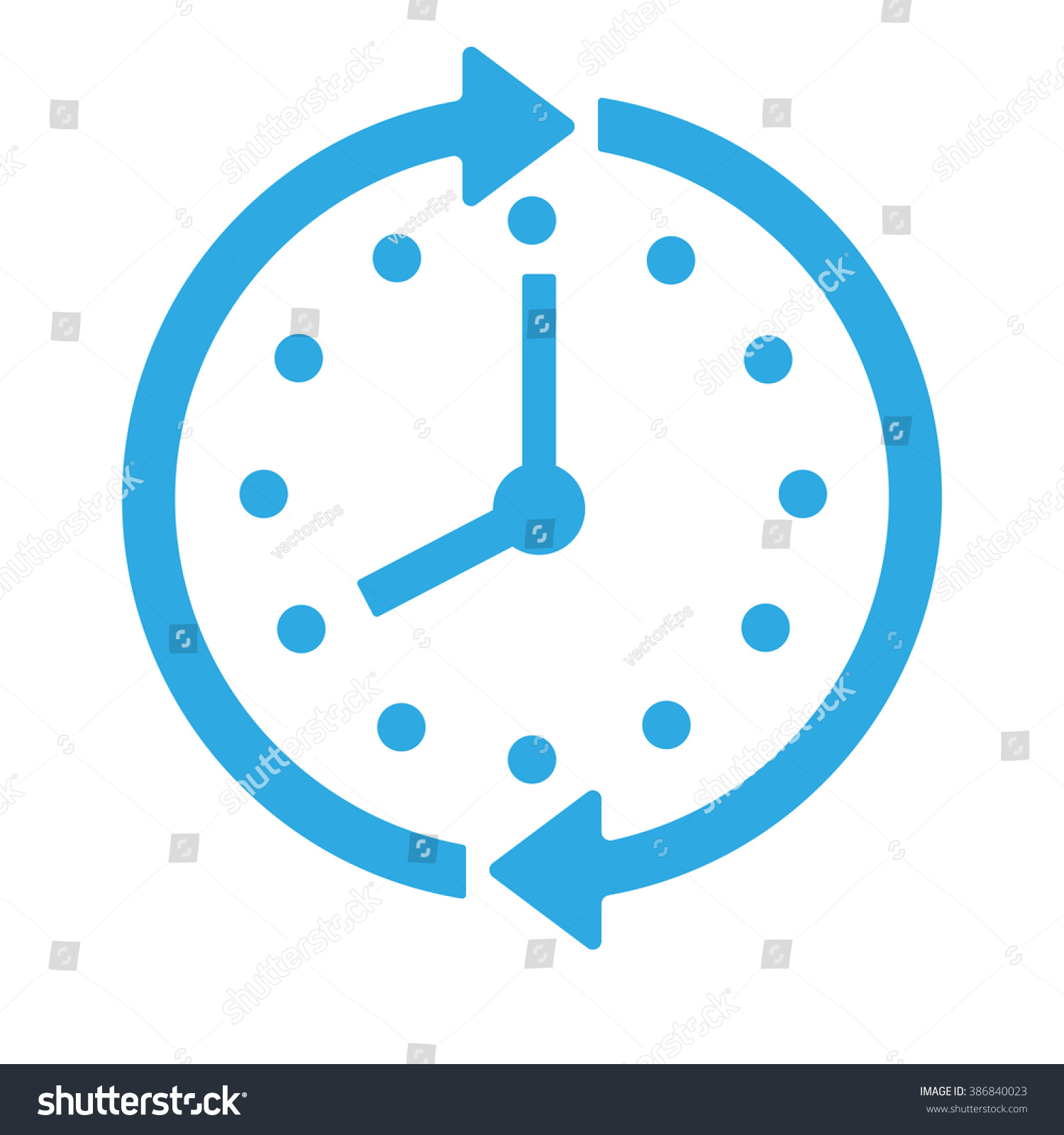 blue clock icon isolated on background stock vector