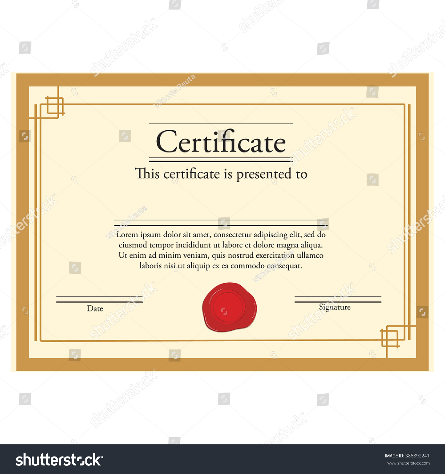 Vector illustration certificate template red wax stock vector vector illustration of certificate template with red wax stamp and golden frame certificate border xflitez Choice Image
