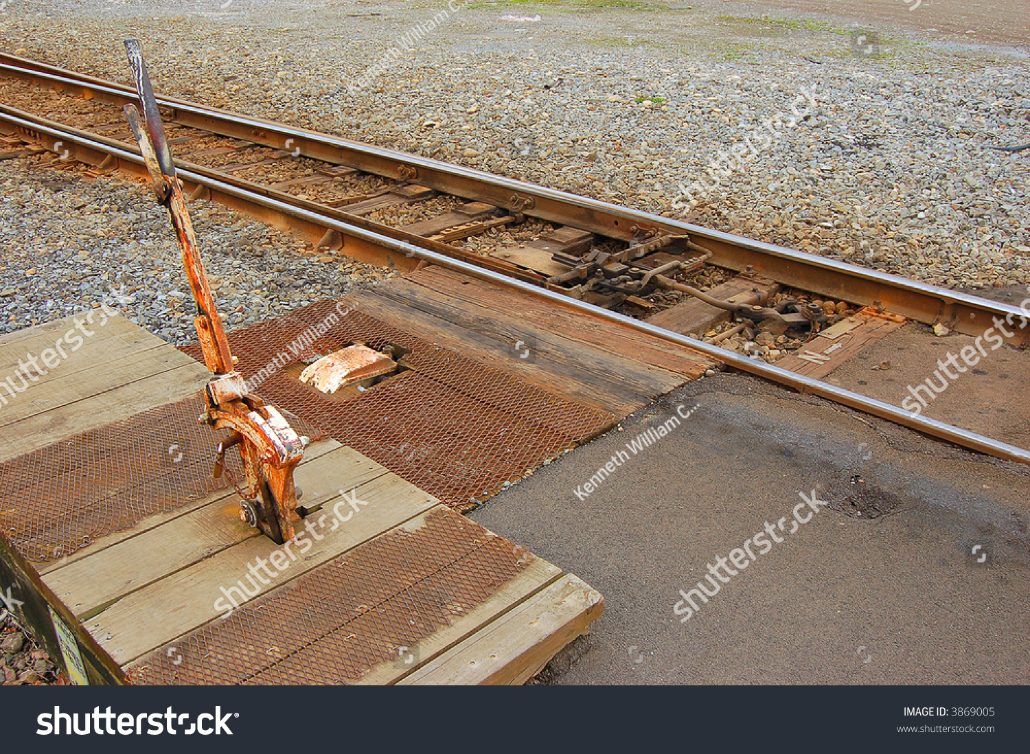 Lever Train Track : Railroad points lever and track connections stock photo