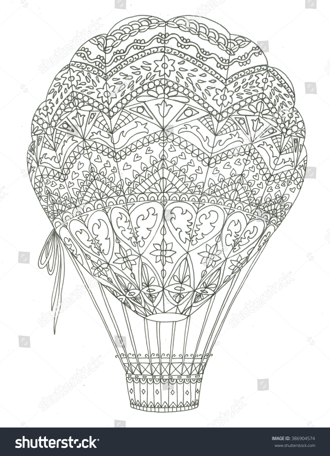 Air Balloon Coloring Page Stock Illustration 386904574 - Shutterstock