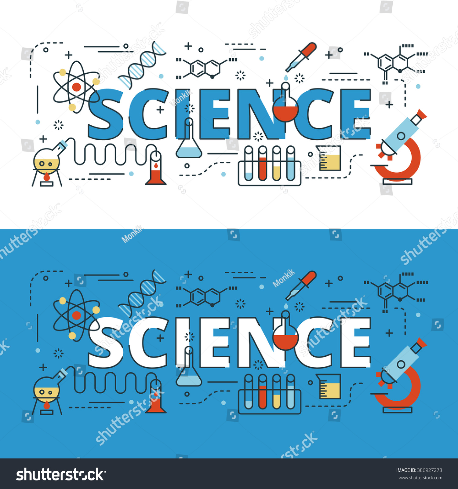 Science School Book Cover ~ Science lettering flat line design icons stock vector