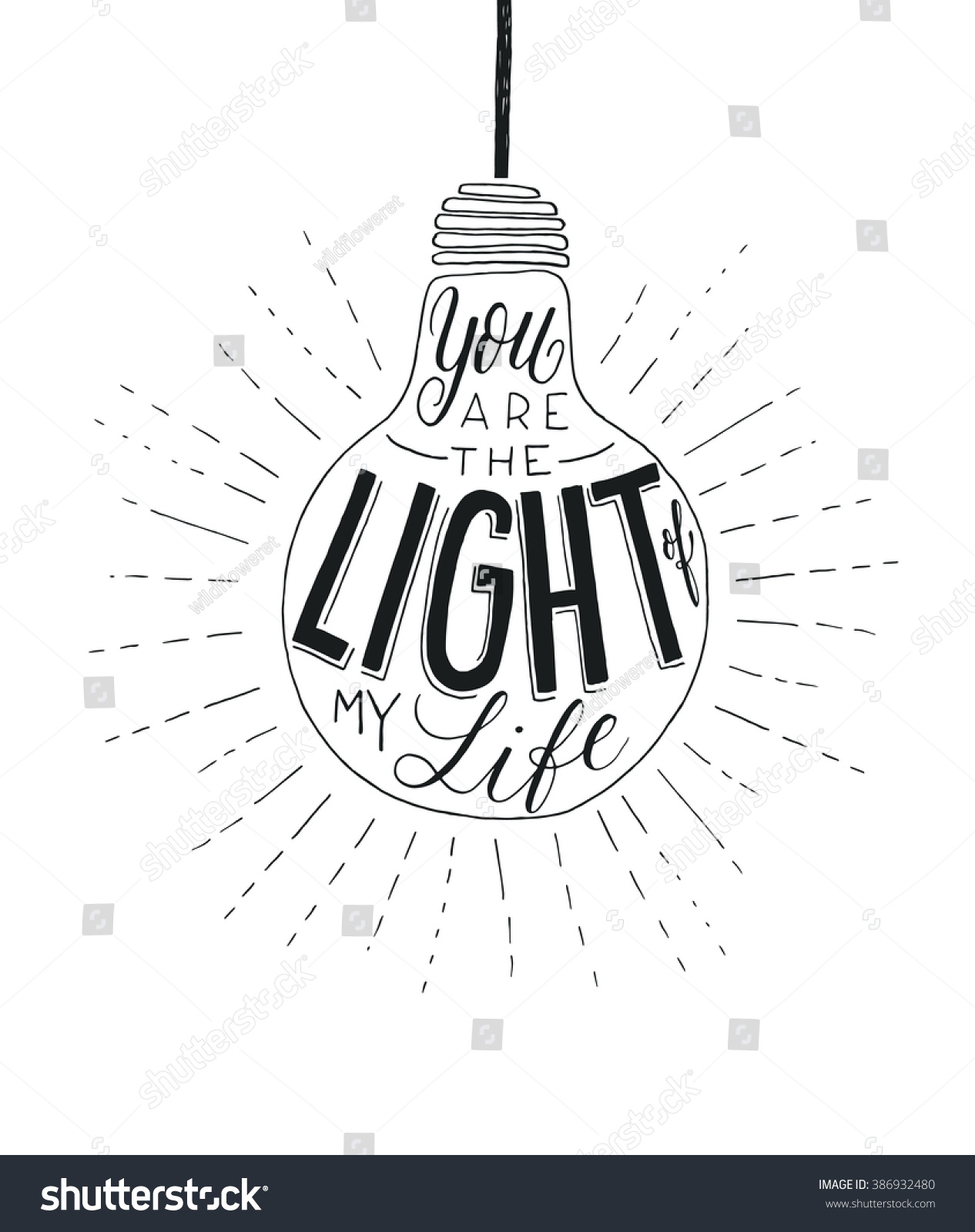 You Light My Life Vector Inspirational Stock Vector Royalty Free