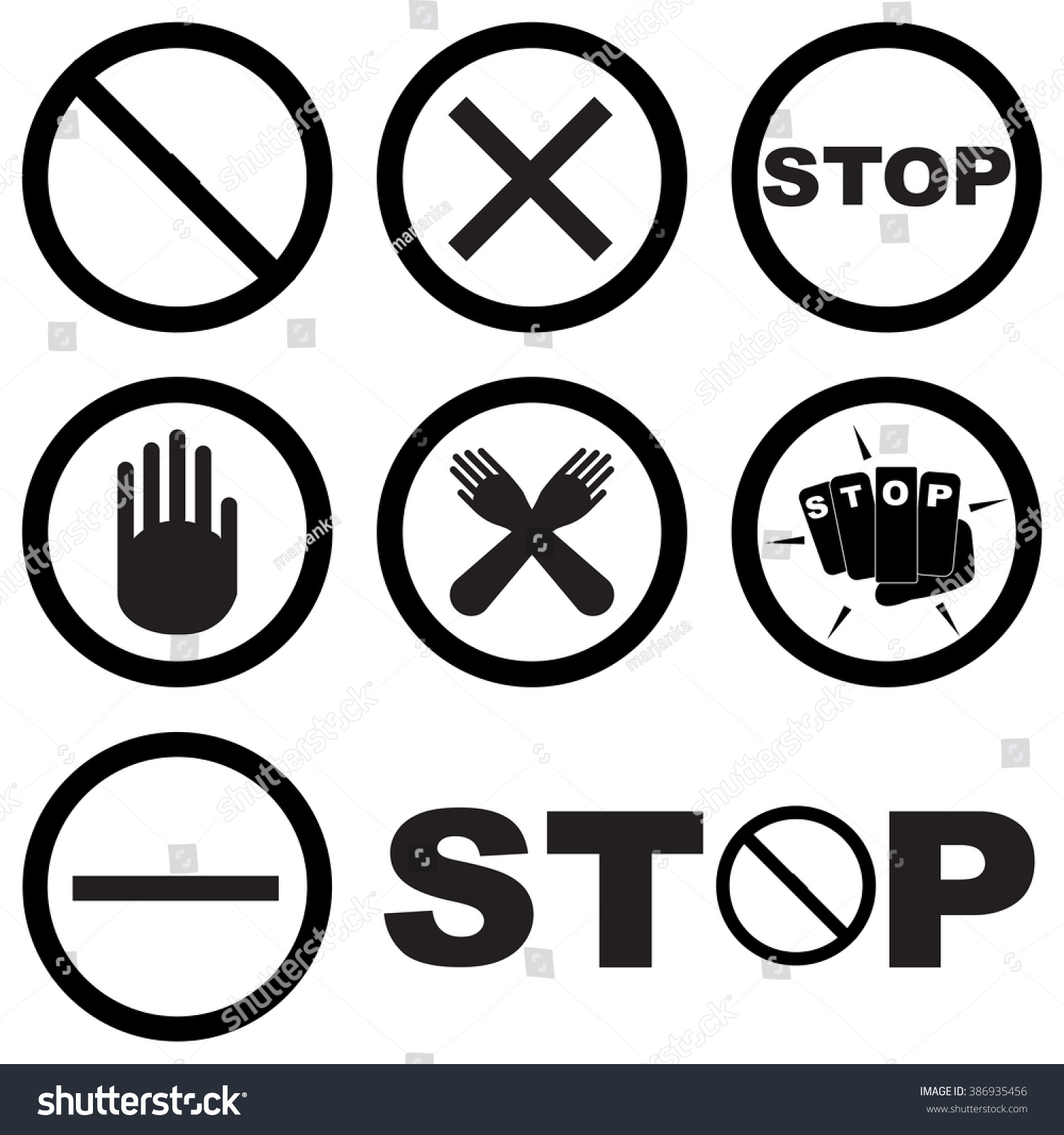 Black white set stop signs symbols stock vector 386935456 black and white set of stop signs and symbols warning about danger or no entry on buycottarizona