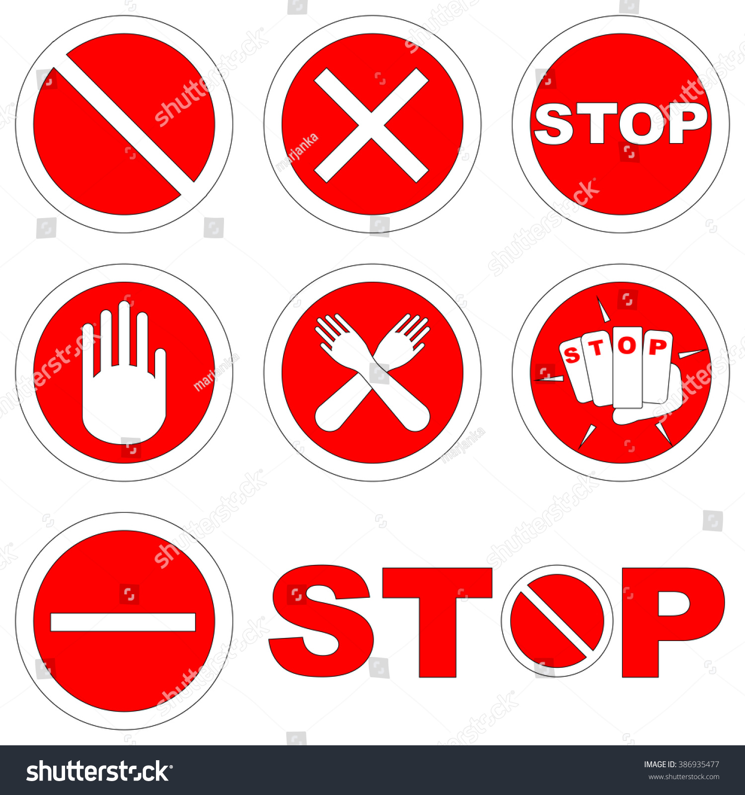 Black red set stop signs symbols stock vector 386935477 shutterstock black and red set of stop signs and symbols warning about danger or no entry on buycottarizona
