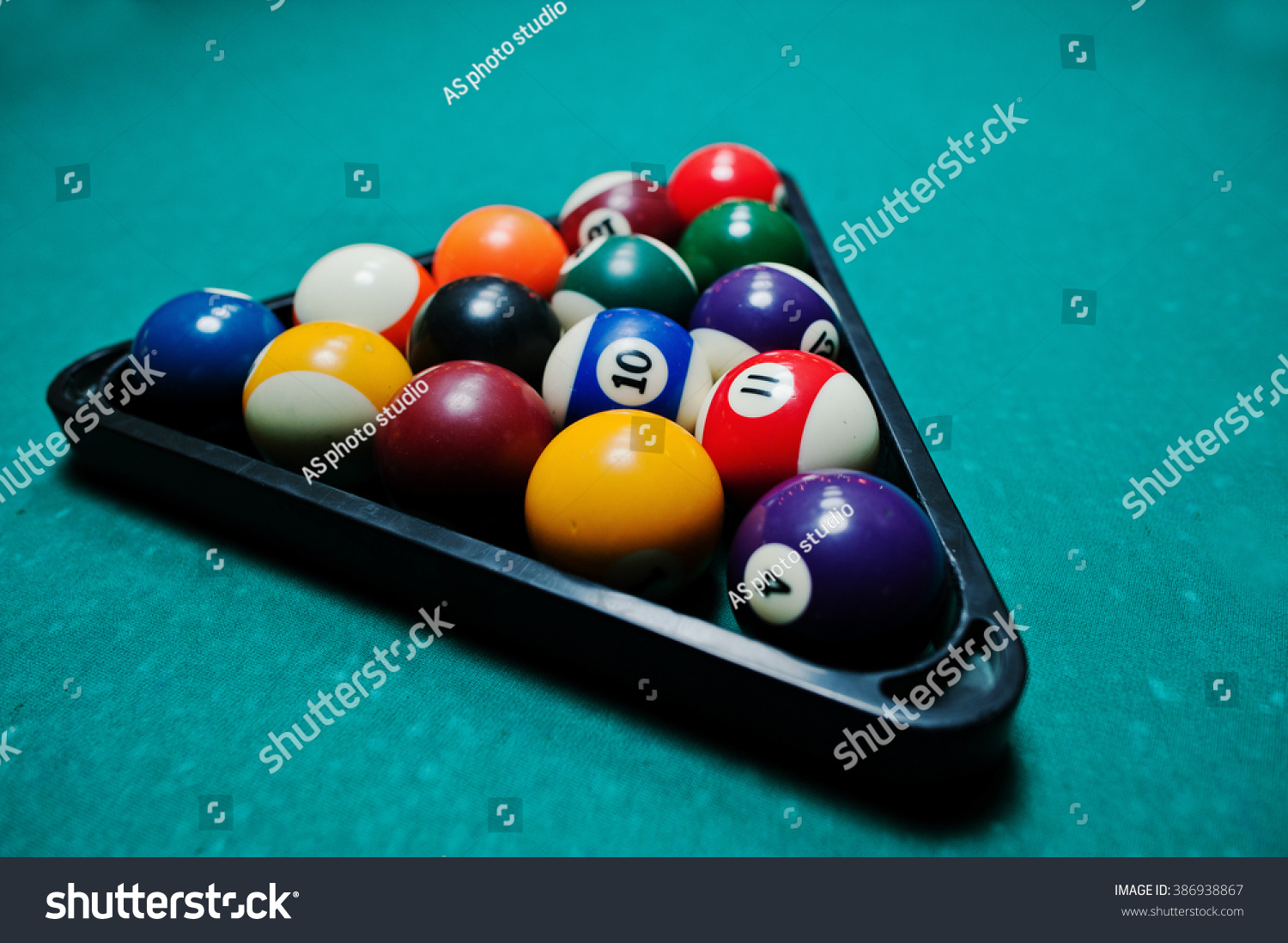 Billiard Balls In A Pool Table At Triangle