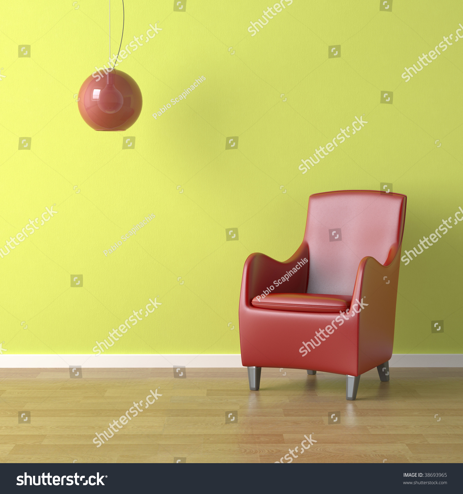 Interior design red armchair and lamp on green wall - Red and green interior design ...