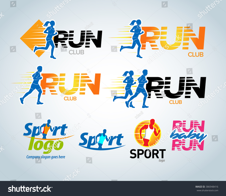 Shirt design concepts - Sport Club Running Club Vector Labels And Emblems Logotypes Badges Apparel