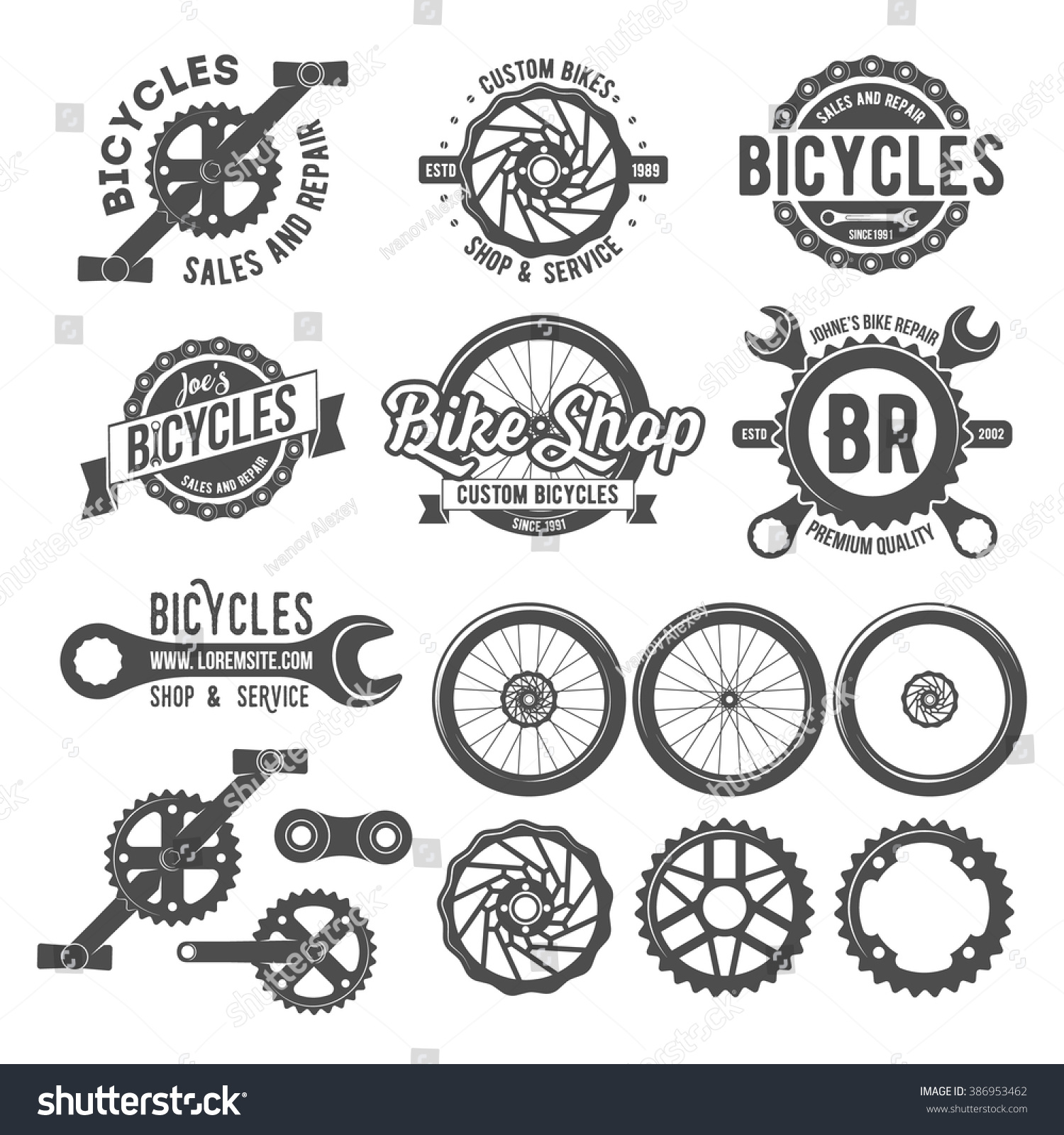 Set Vintage Modern Bike Shop Logo Stock Vector 386953462