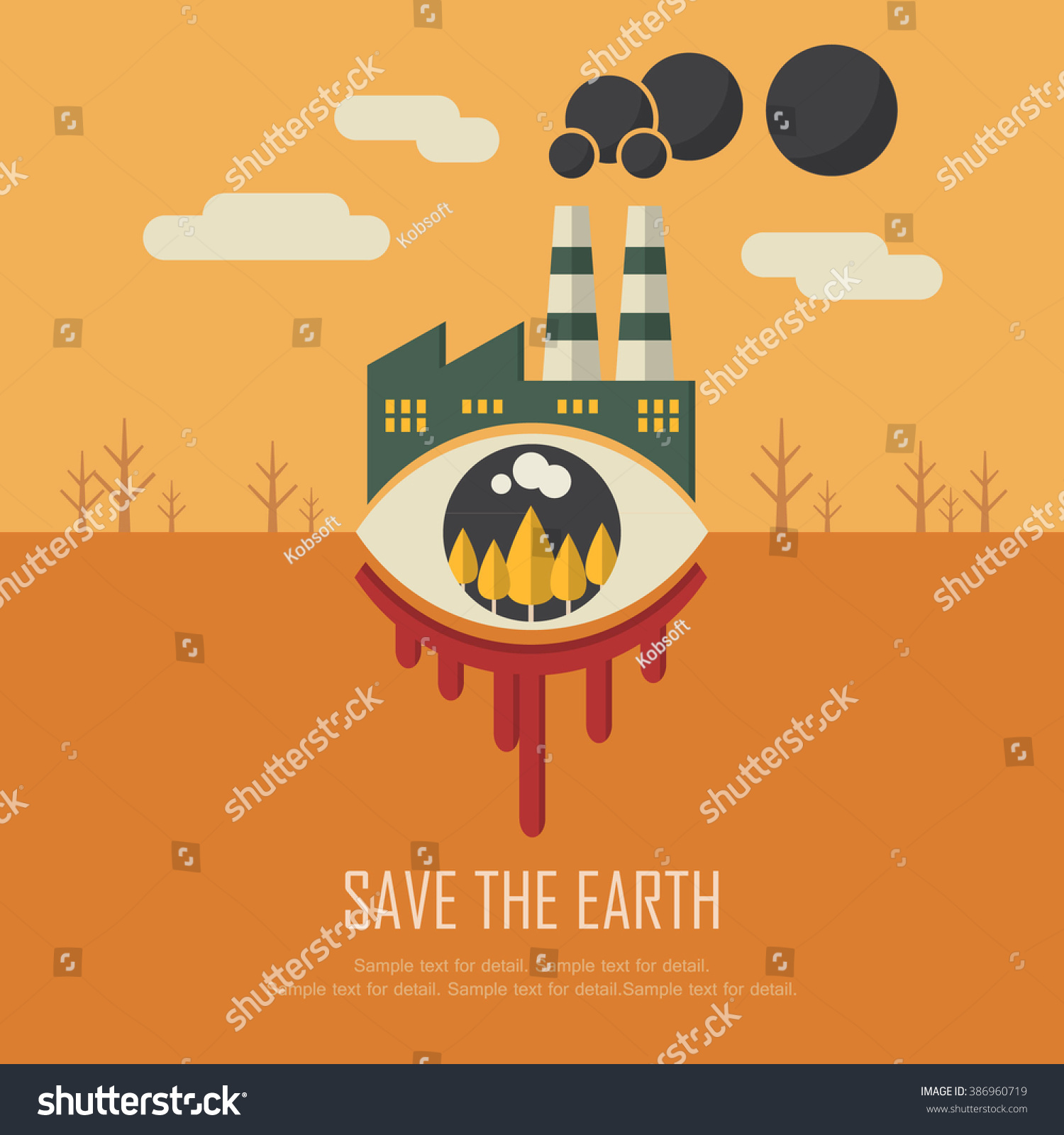 Poster design on save earth - Save The Earth Campaign Creative Retro Flat Design Inspiring Vector Graphic Illustrations