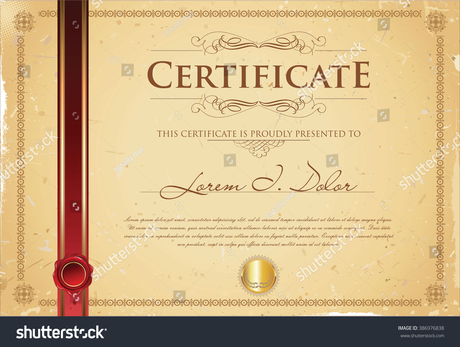 Certificate diploma template vector stock vector 386976838 certificate or diploma template vector yadclub Image collections