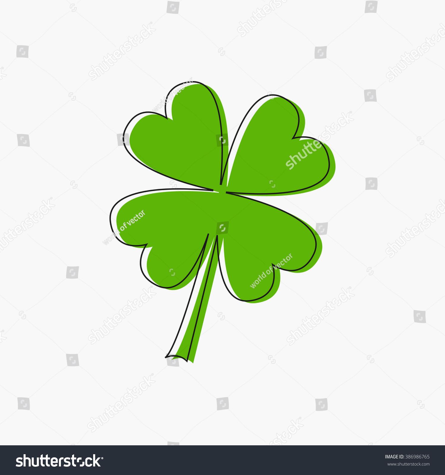 Clover Leaf Four Petal Green Clover Stock Vector Royalty Free