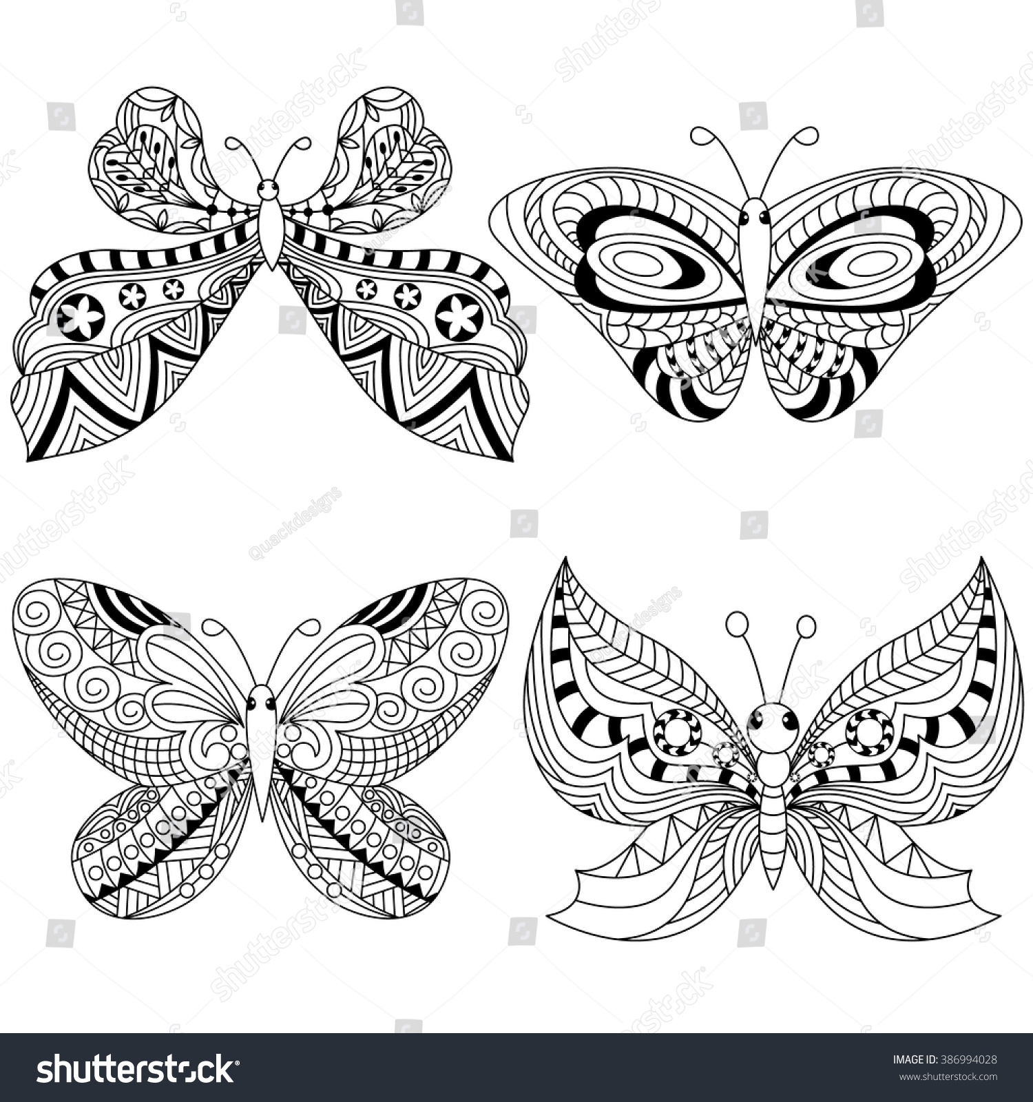 zen tangle stylized black butterfly coloring stock vector