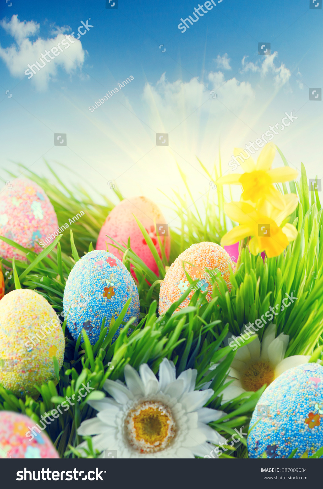easter scene background beautiful colorful eggs stock photo