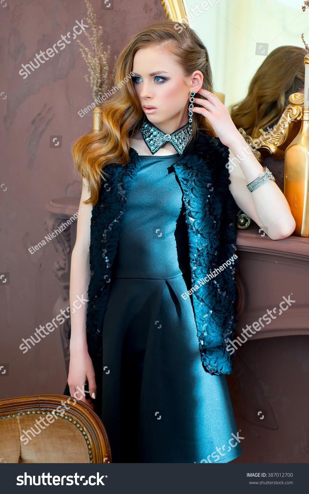 48cf64b4ba25a Elegant Young Girl Black Evening Dress Stock Photo Edit Now