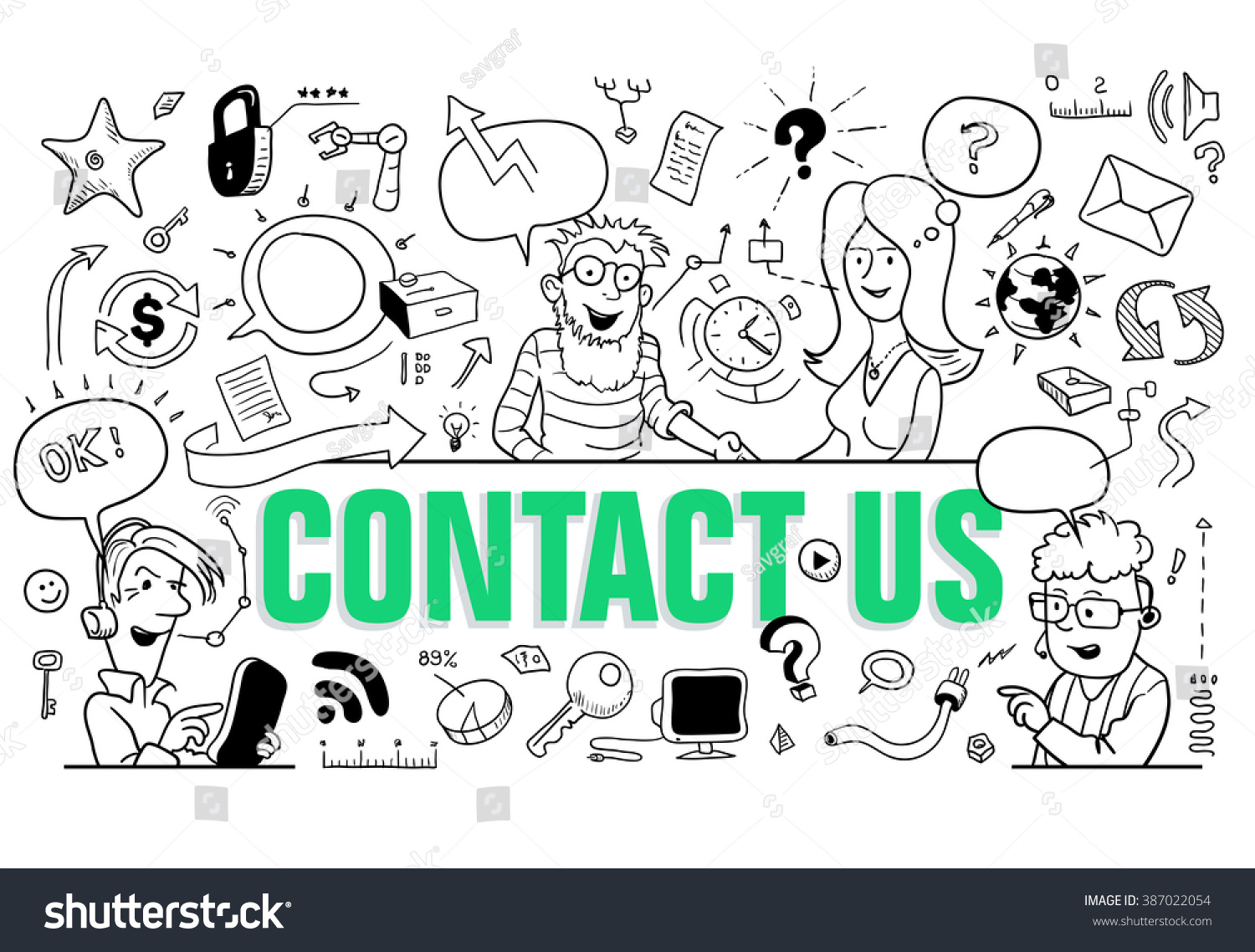Contact Us Funny >> Green Letters Contact Us Doodle Style Stock Vector Royalty