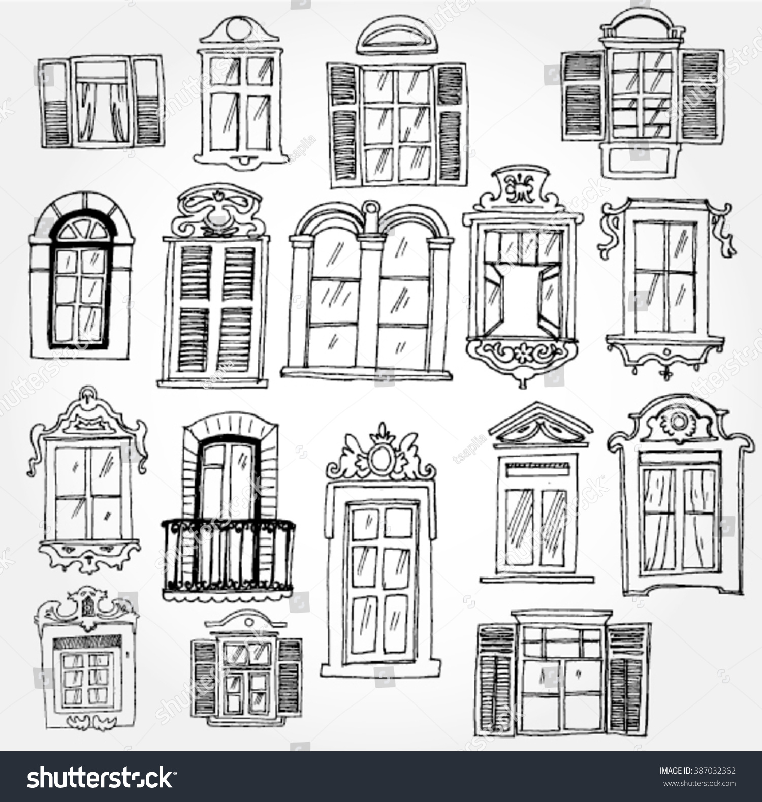 Set Vintage Windows Stock Vector Royalty Free 387032362