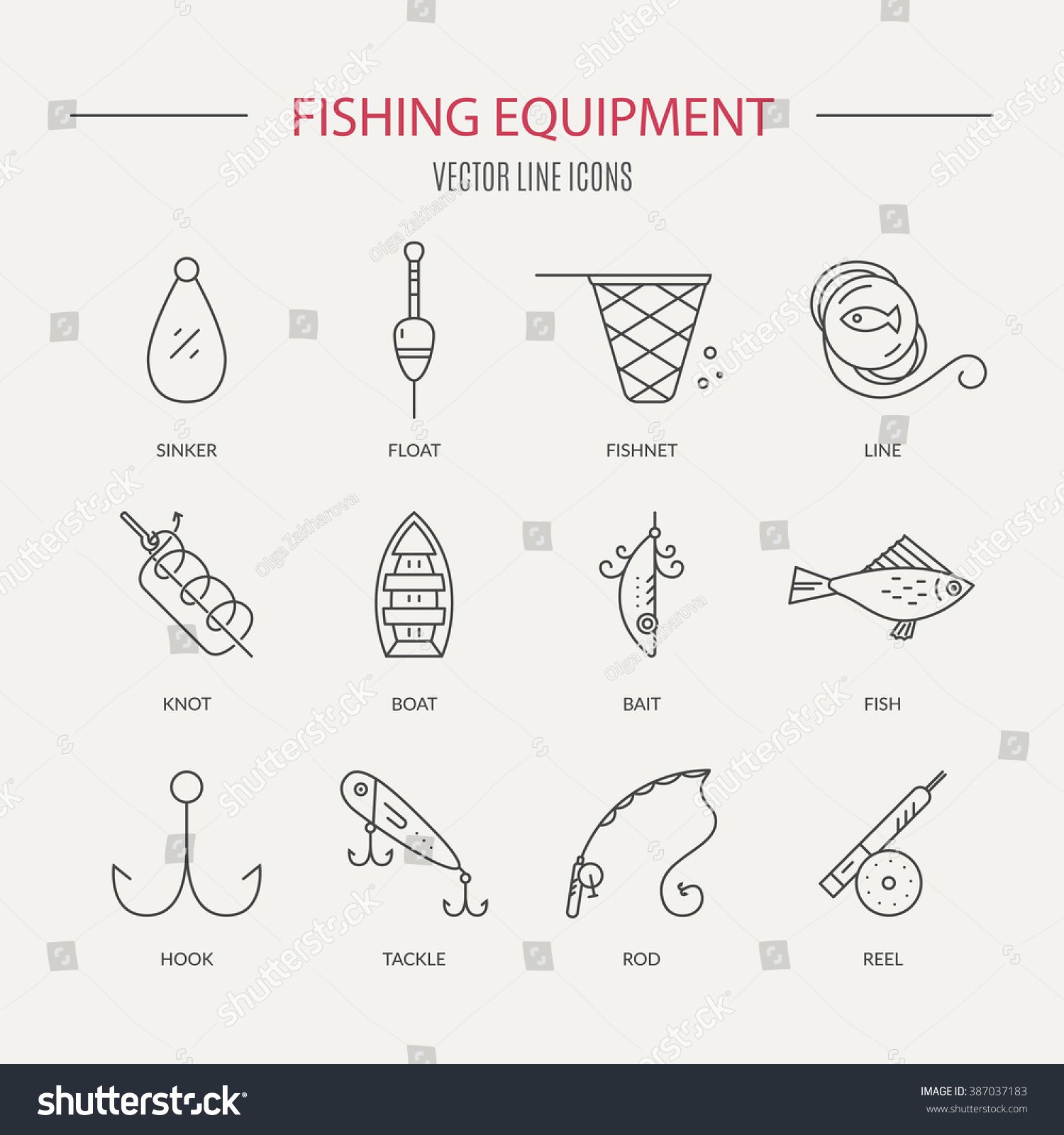 collection different fishing gear names made stock vector, Hard Baits