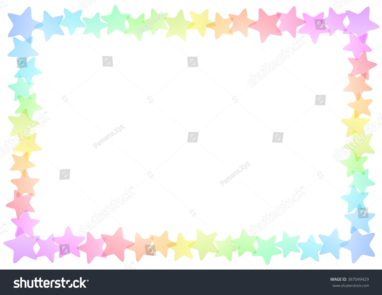 Colorful Stars Border Frame On White Stock Illustration ...