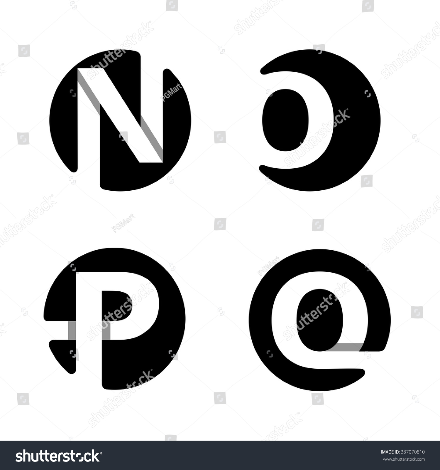 Capital letters N, O, P, Q. From white stripe in a black