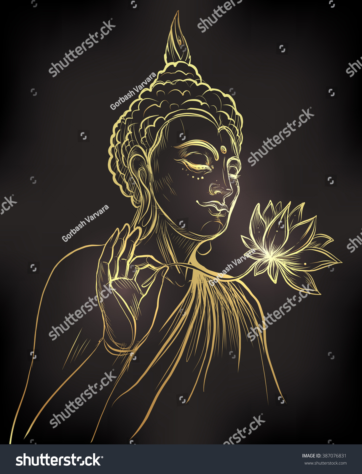 Buddha Holding Lotus Flower Gold Vector Stock Vector Royalty Free