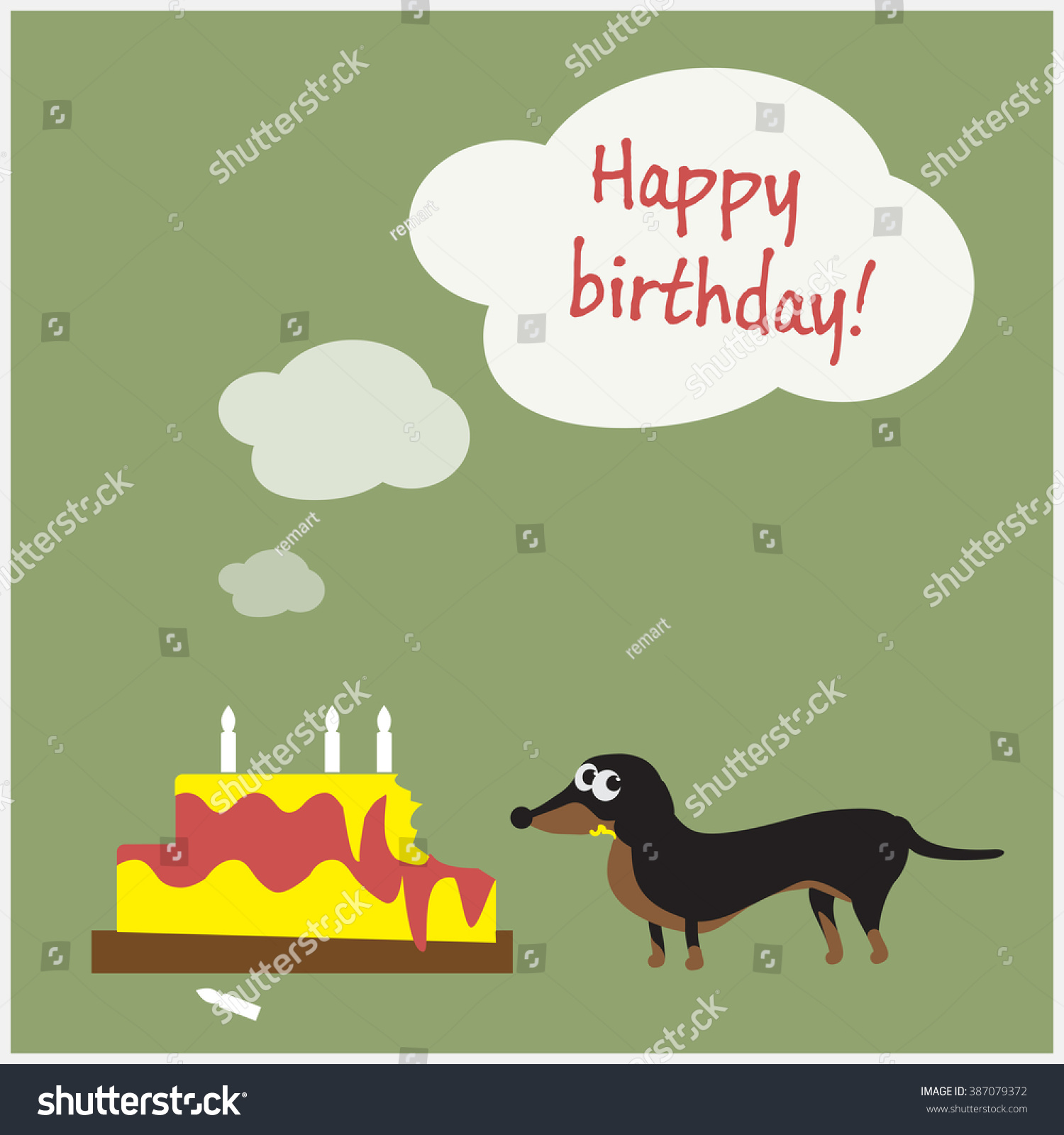 Happy Birthday Greeting Card Innocent Dachshund Stock Vector