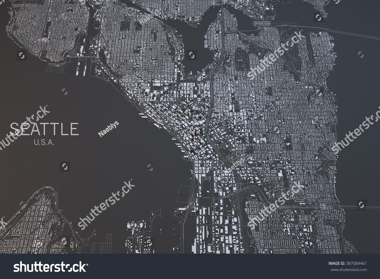 Seattle Map Satellite View Washington State Stock Illustration
