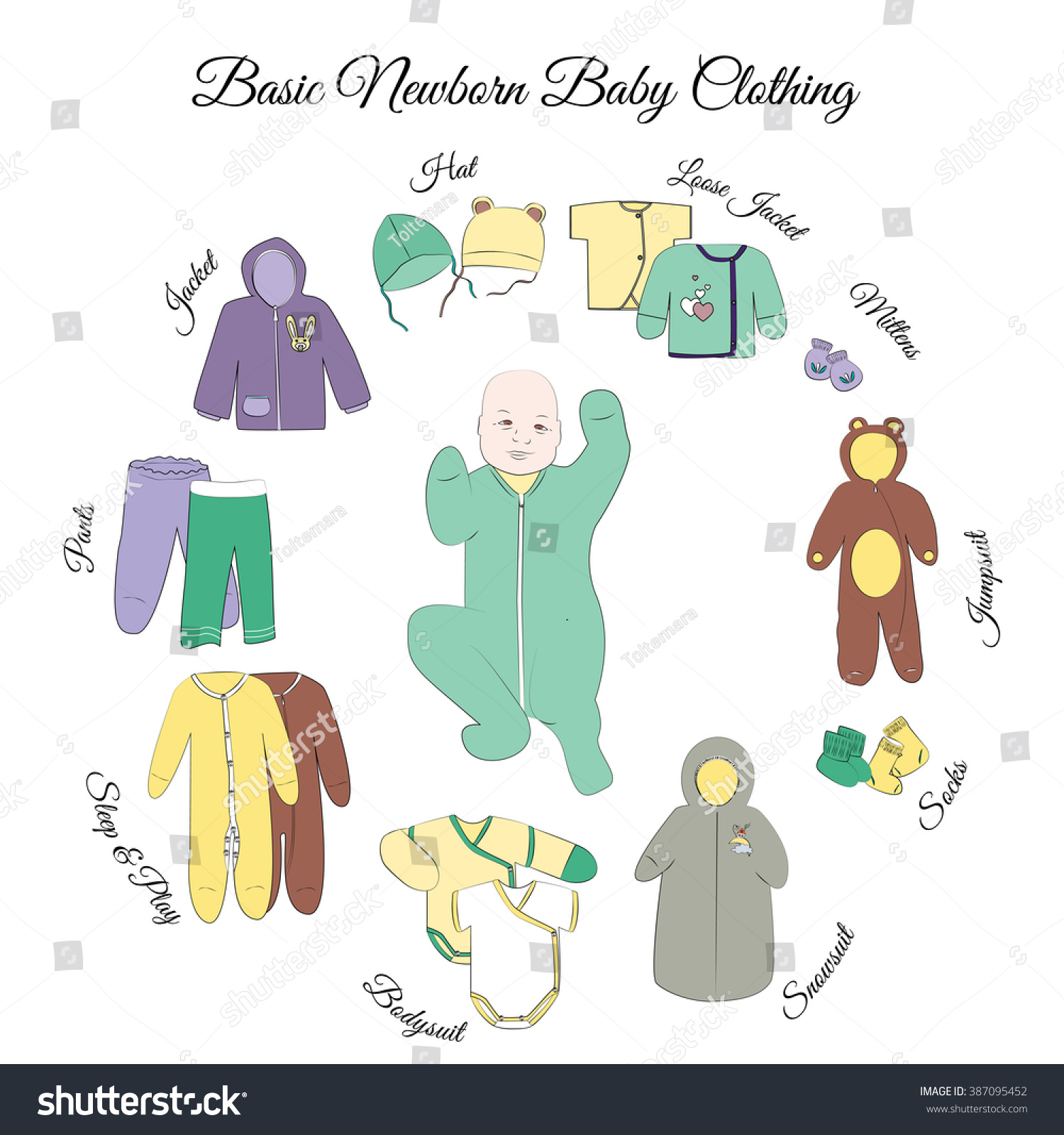 a607c8a3c25 Newborn Basic Clothing Set Comfortable Baby Stock Vector (Royalty ...