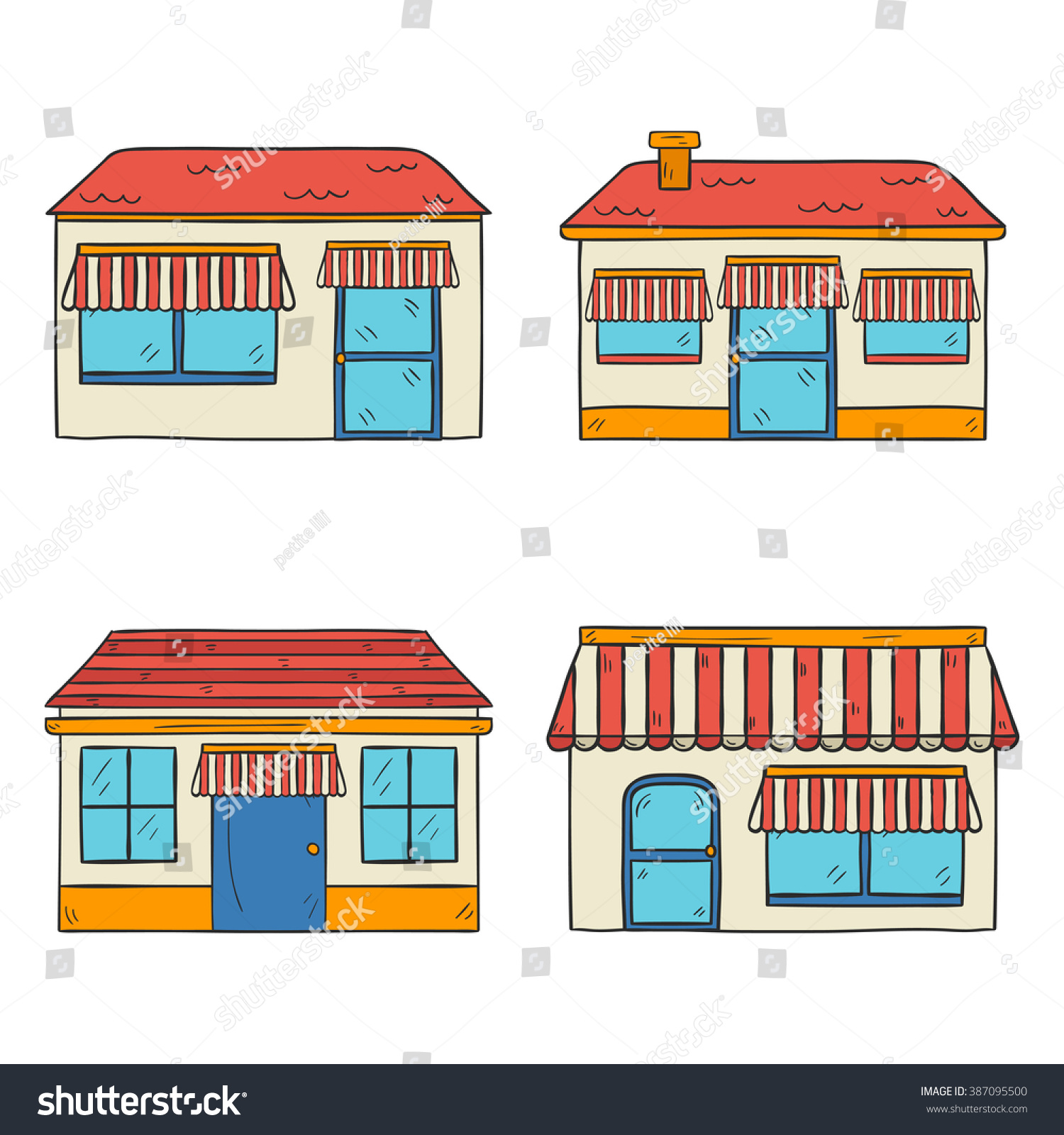 Home Design With Shop Part - 50: Vector Illustration With Store Front View. Hand Drawn Cartoon Store Front  View. Outdoor Store
