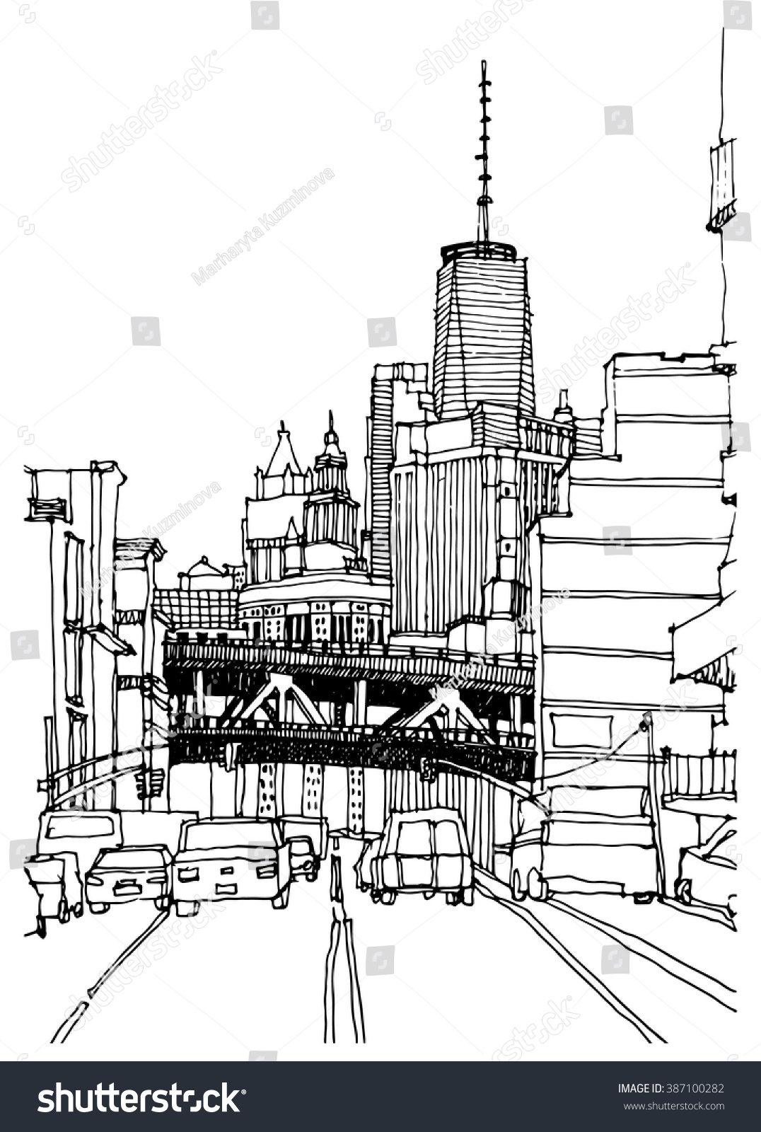 Scene Street Illustration Hand Drawn Ink Stock Vector (2018 ...