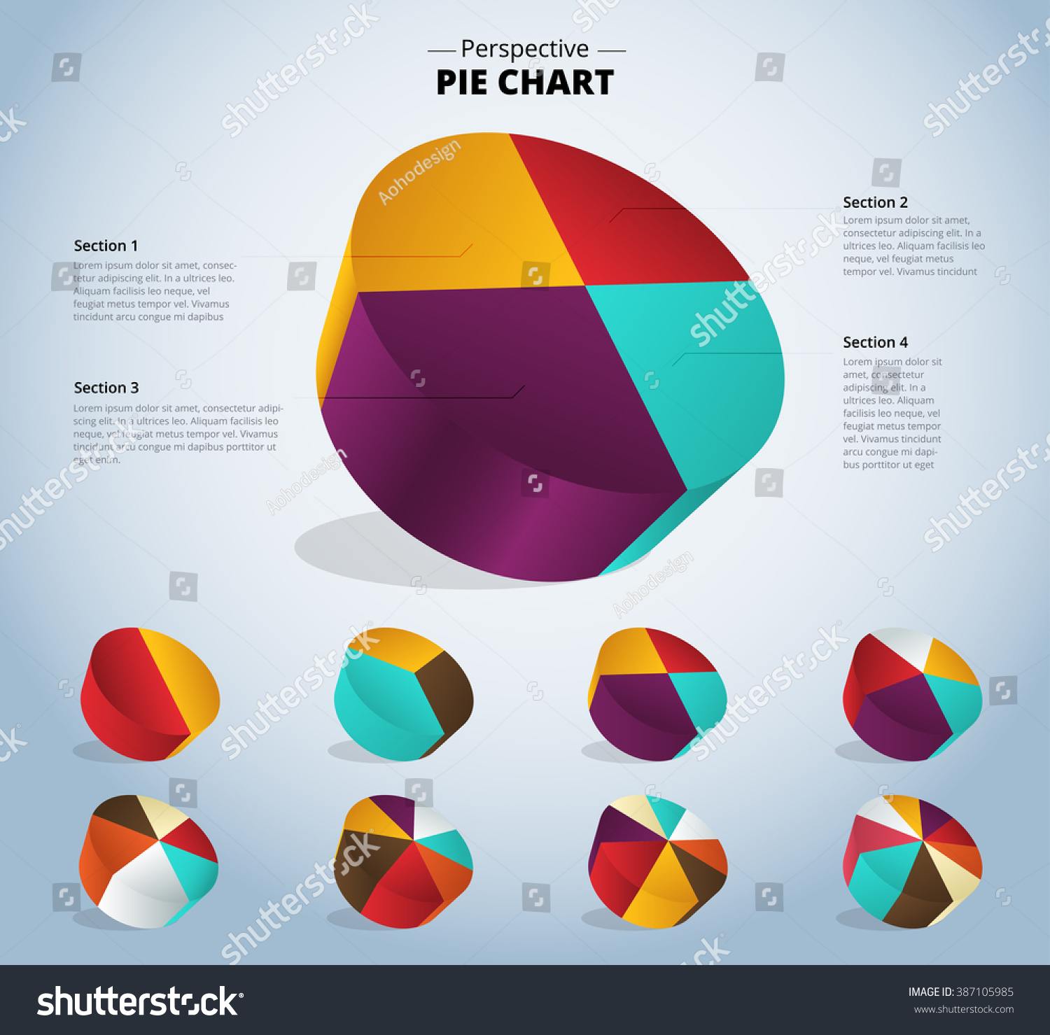 3d Pie Chart Infographic For Used Presentation Vector Illustration