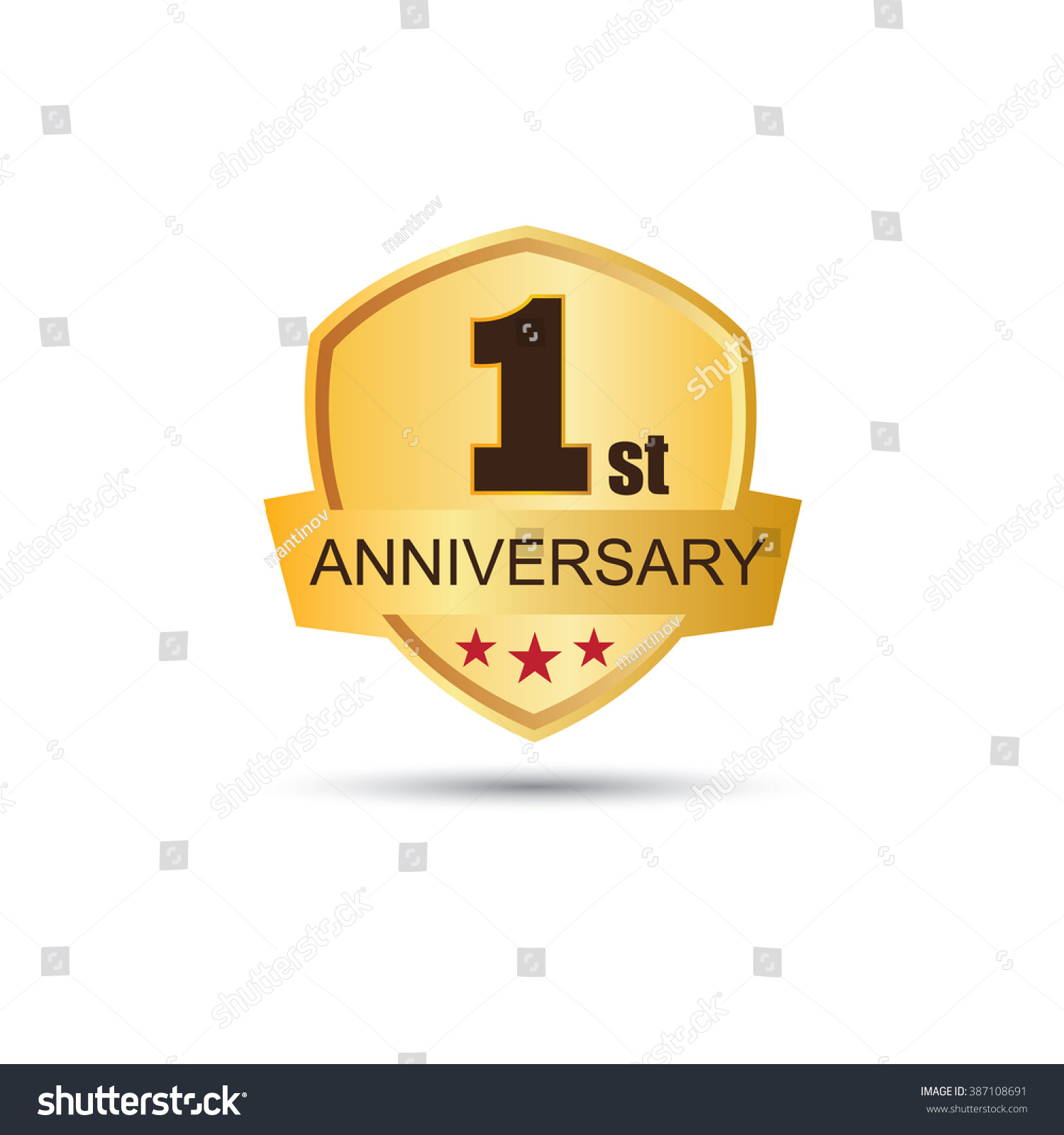 Golden badge year anniversary logo stock vector
