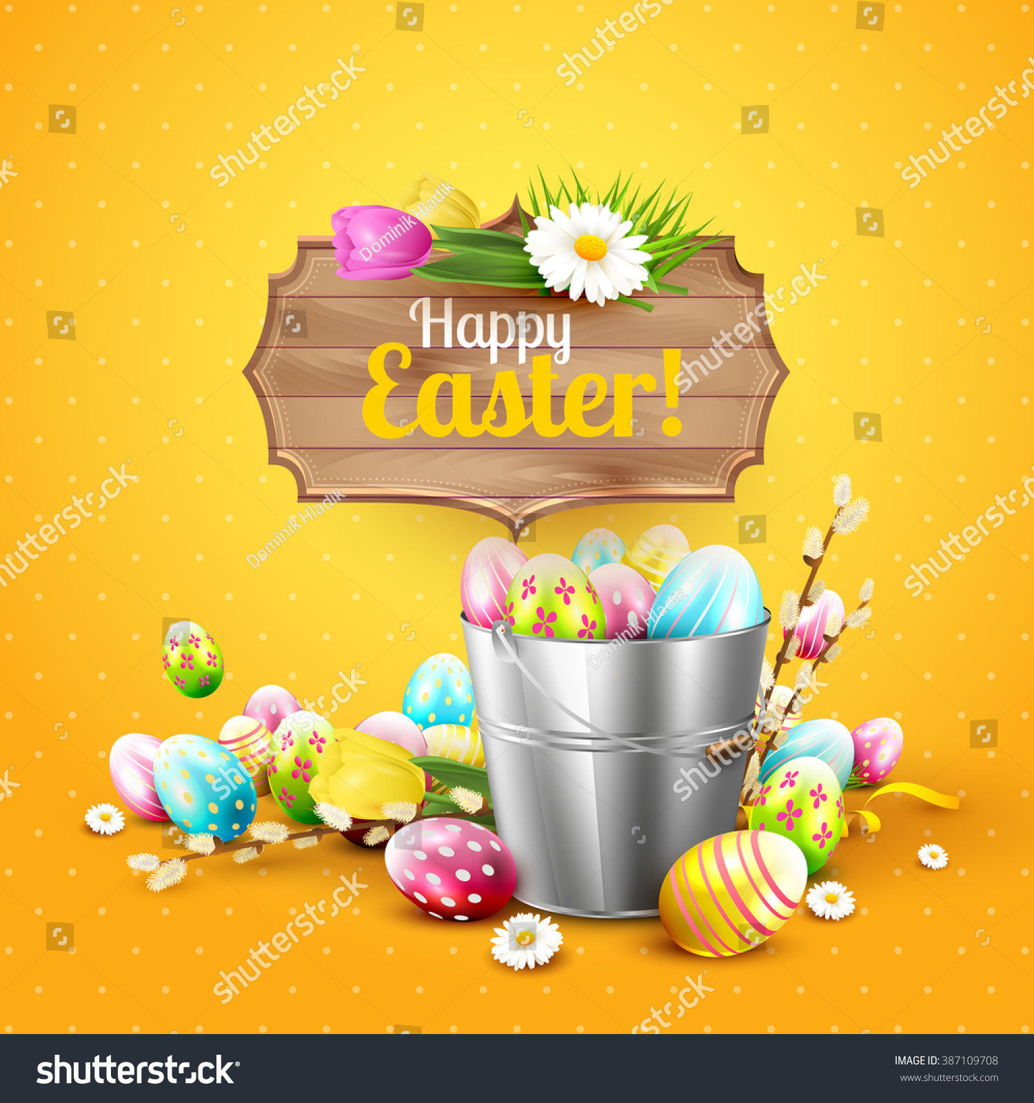 Easter Greeting Card Flowers Colorful Eggs Stock Vector Royalty