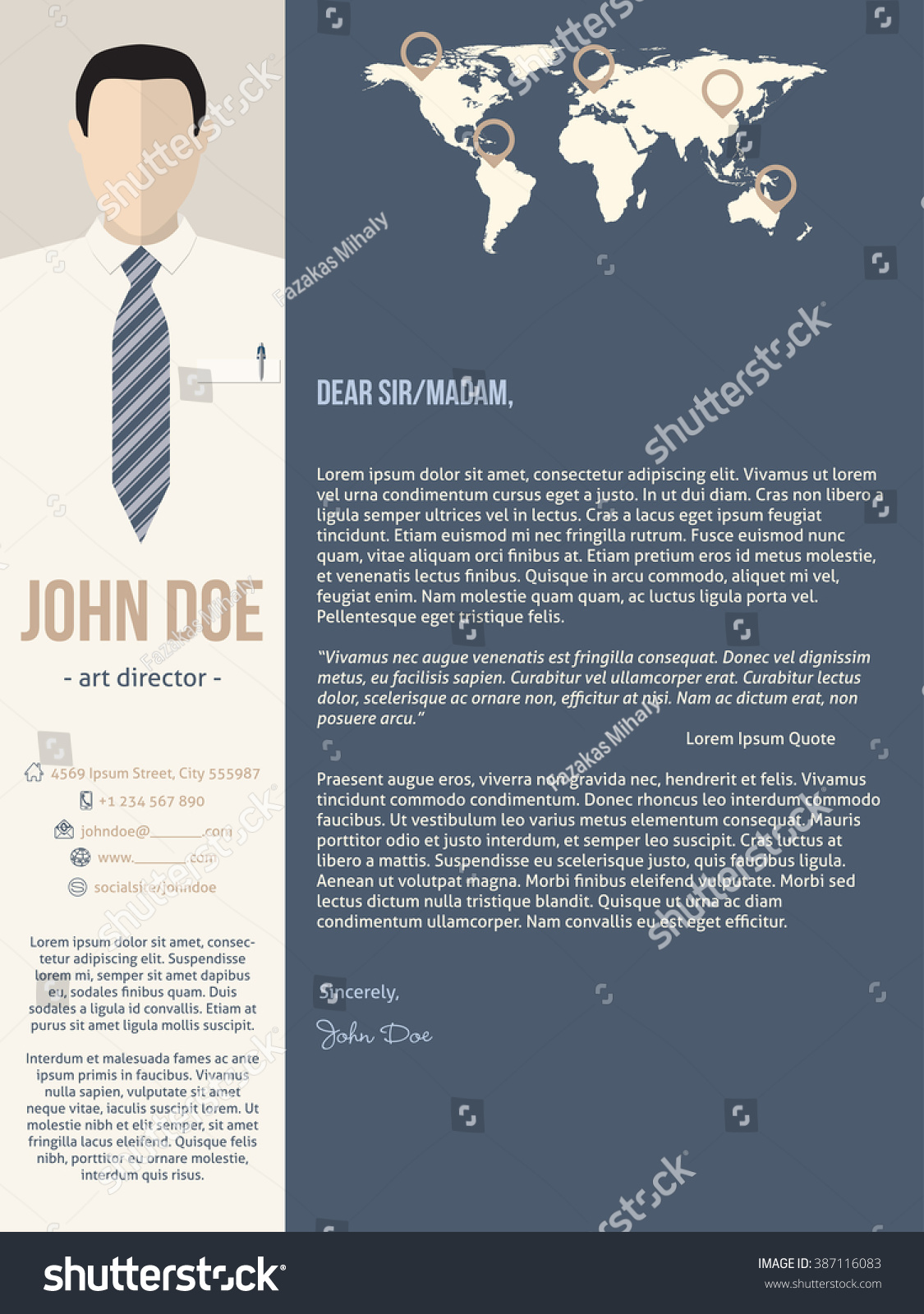 modern cover letter resume cv template with business man photo - Cover Letter For Resume Template