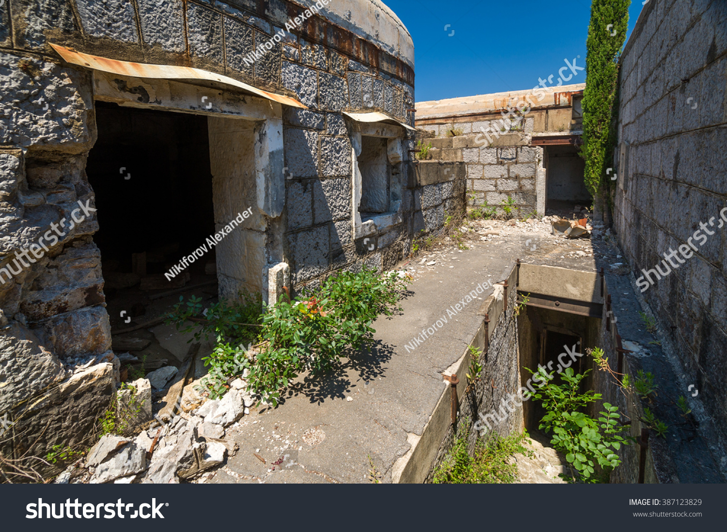 Fort Kabala Inside View. Stone Walls And Abandoned Buildings Of Old  Military Fortress. Kotor
