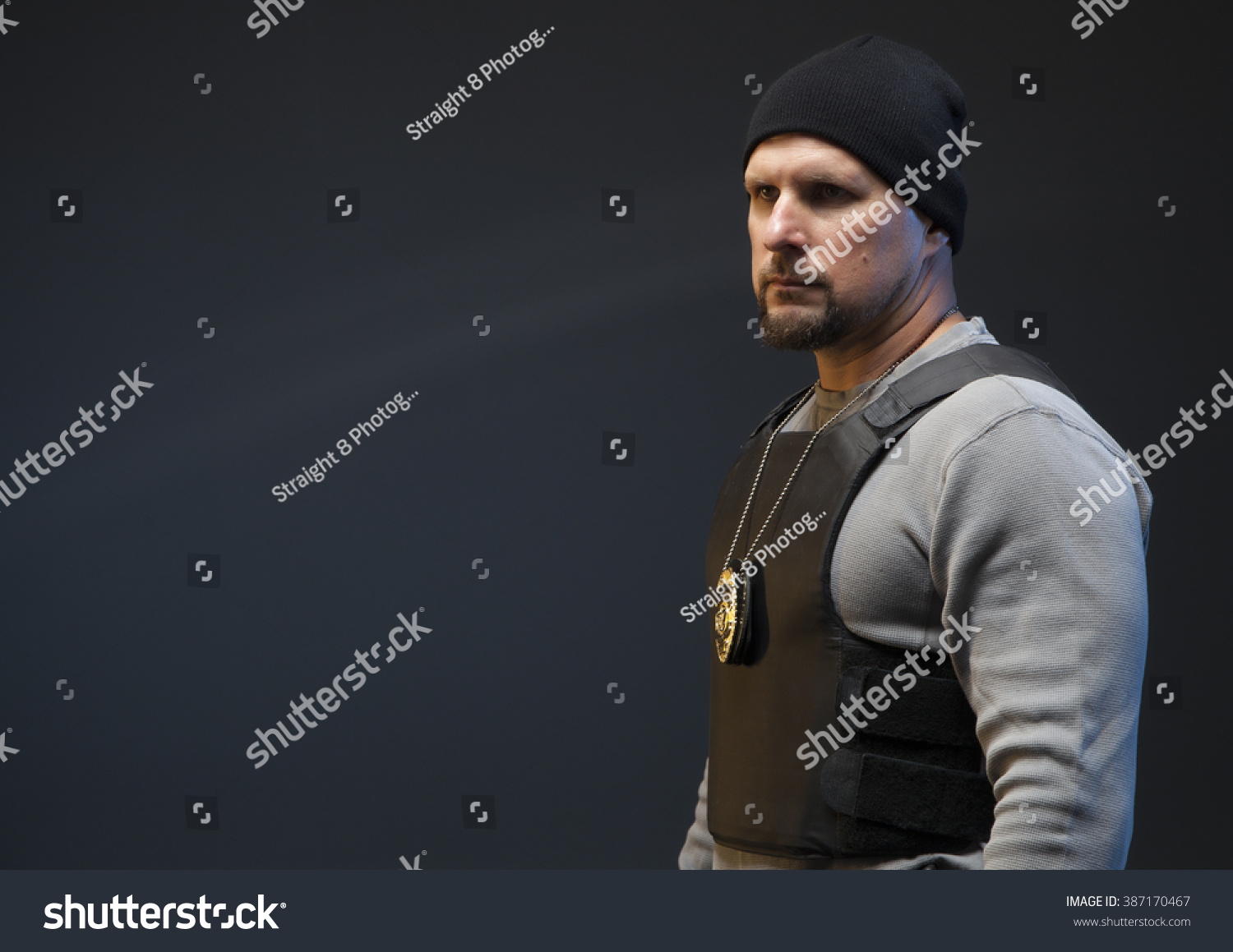 Copy Space Undercover Police Officer Badge Stock Photo 387170467 ...