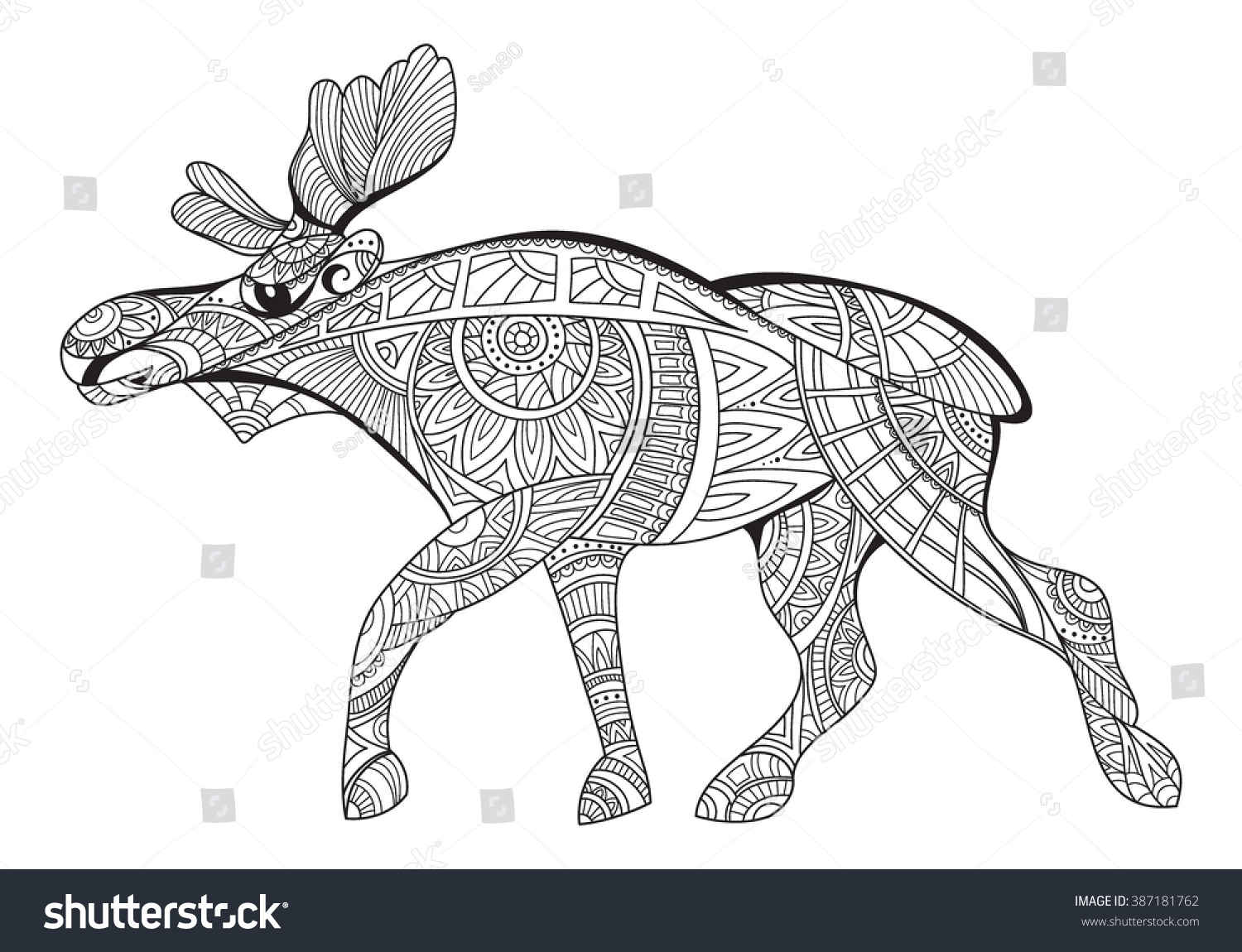 Elk Decorative Elk Black White Drawing Stock Vector 387181762 ...