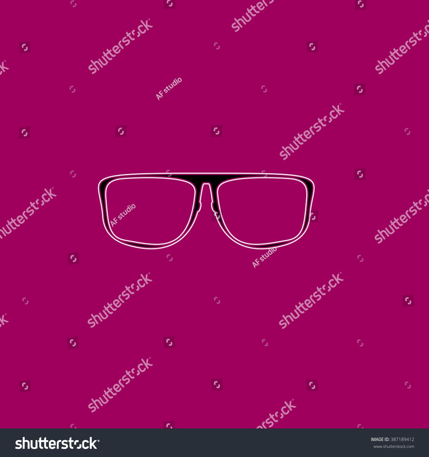 Glasses Flat Symbol Pictogram Over Purple Background Line Vector