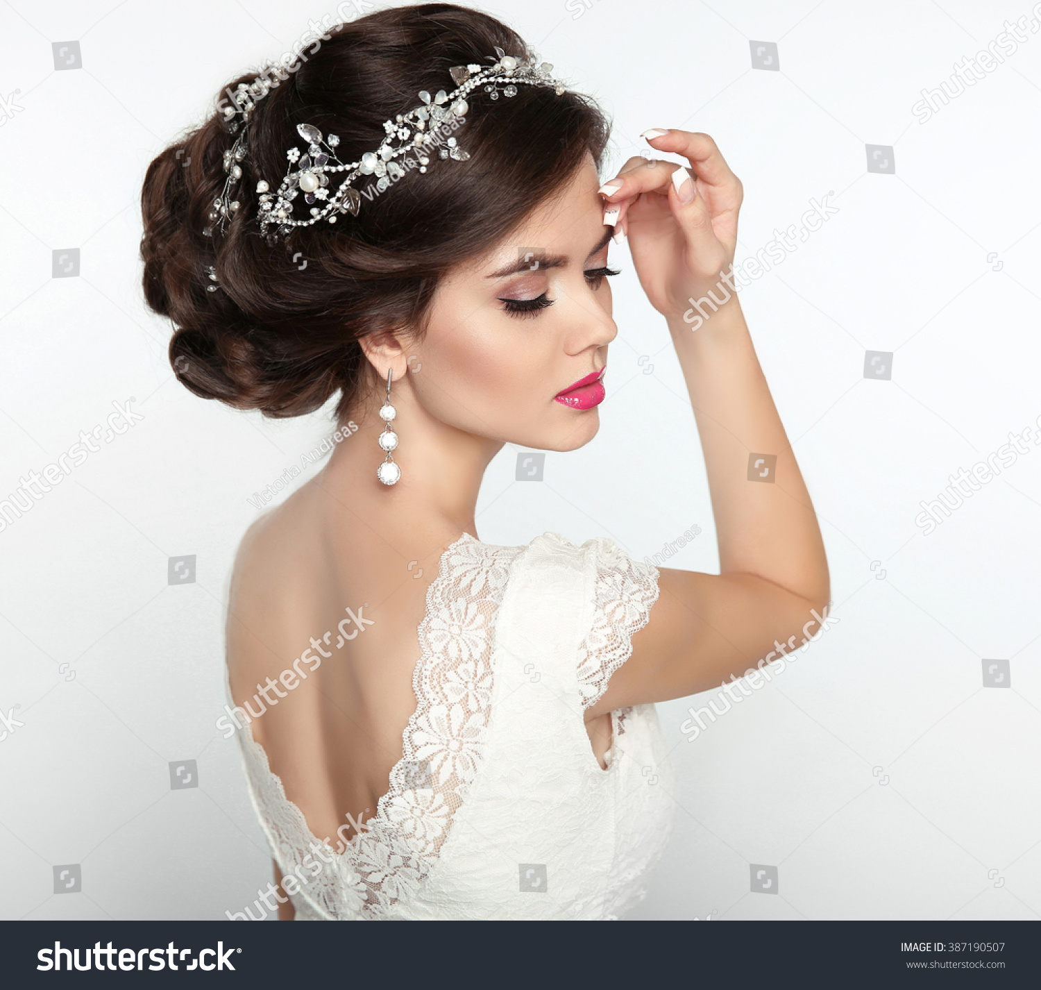 Wedding Hairstyle Beautiful Fashion Bride Girl Stock Photo (Royalty ...
