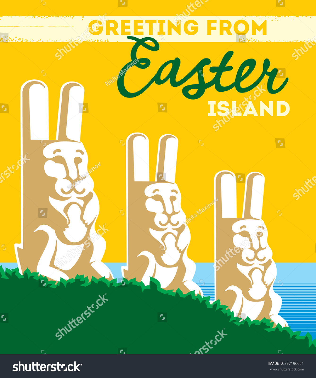 Greeting card easter island stock vector 387196051 shutterstock greeting card from easter island kristyandbryce Gallery
