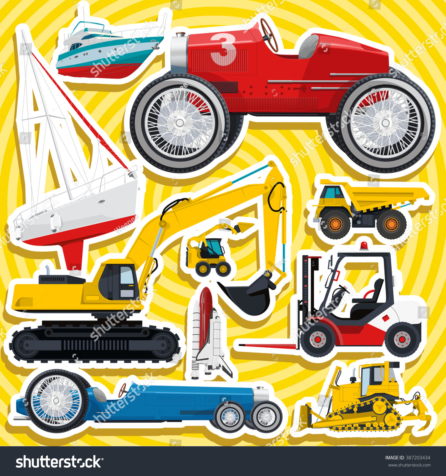 Set Transportation Toys Sticker Kid Scrapbook Stock Vector - Truck decal graphicstruck and vehicle decal graphic design stock vector image