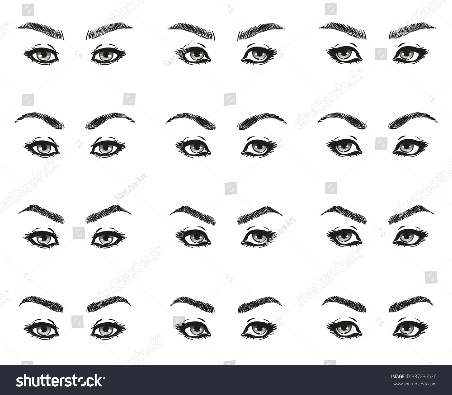 Icons set female eyes look long stock illustration 387236536 icons set female eyes look with long eyelashes and eyebrows different shapes look ahead to the ccuart Gallery