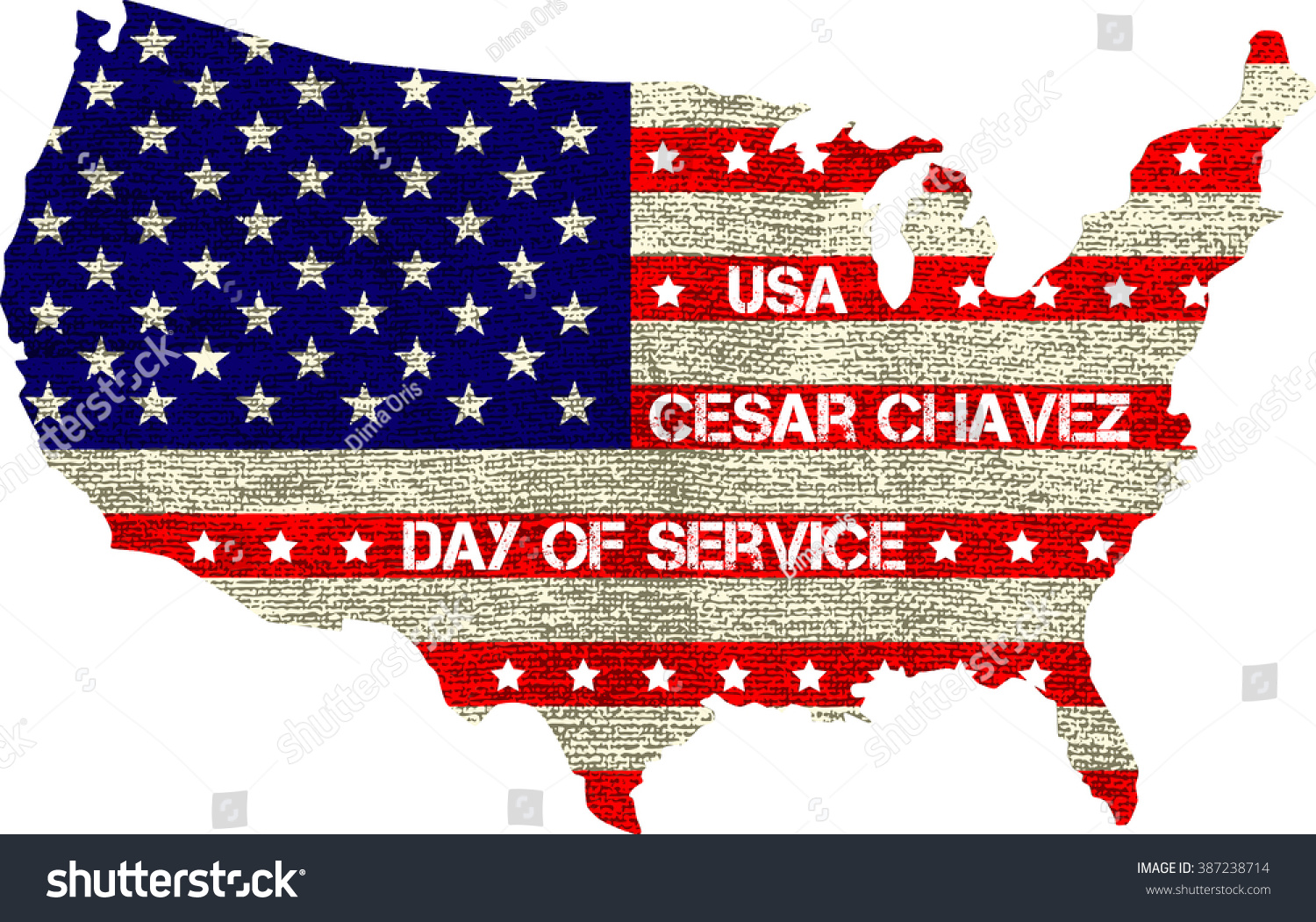 Greeting Card Cesar Chavez Day Service Stock Vector Royalty Free