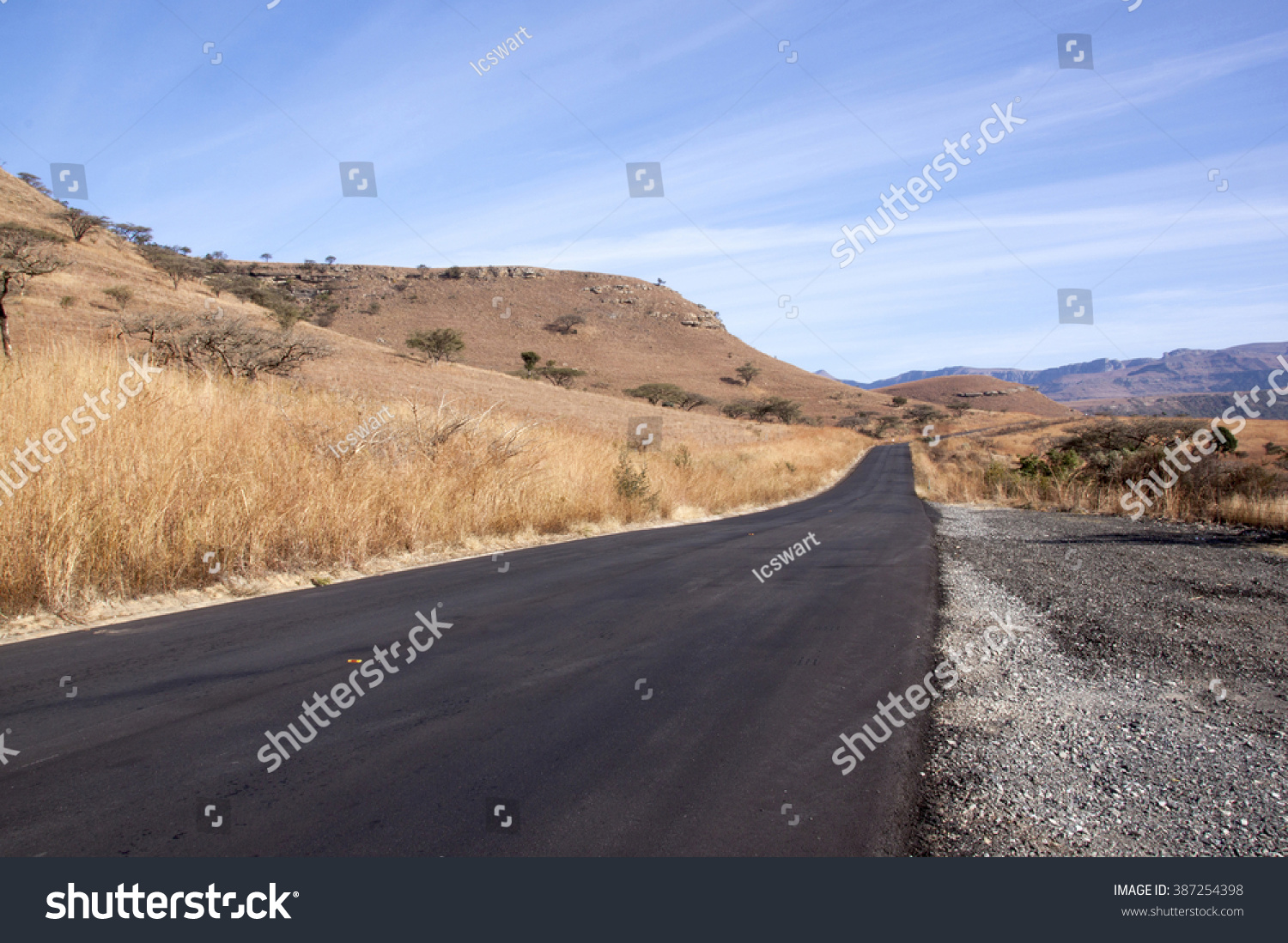 Newly Laid Asphalt Road In Dry South African Rural Landscape Stock ...
