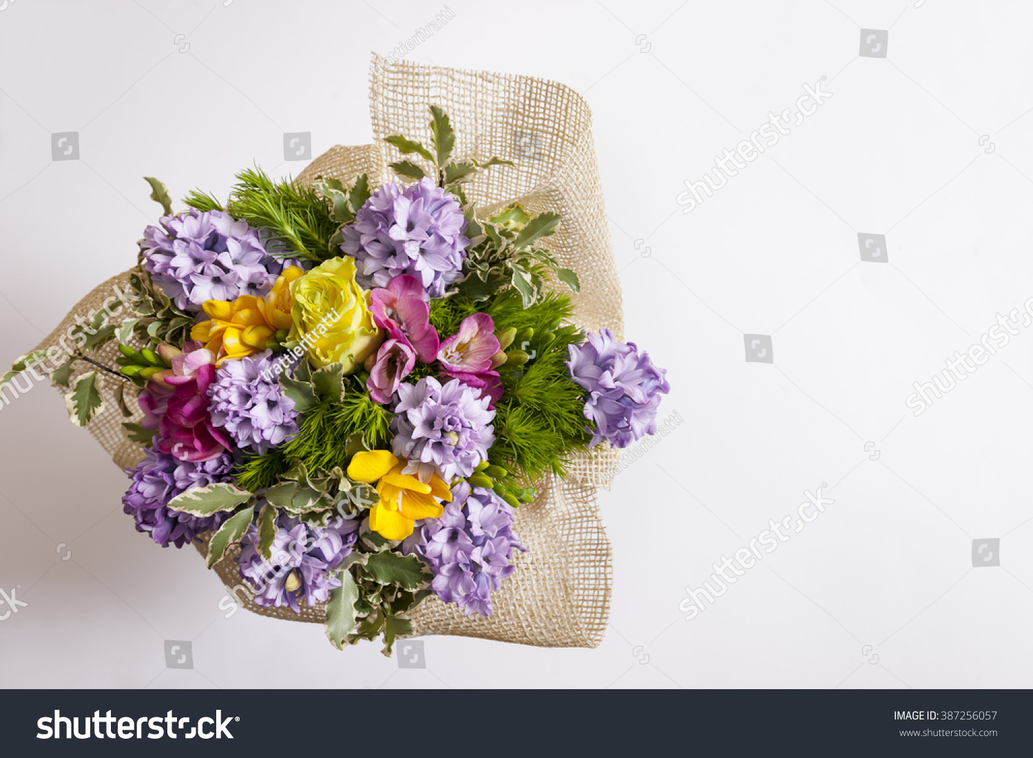 Freesia Hyacinth Bouquet Seen Above Stock Photo & Image (Royalty ...