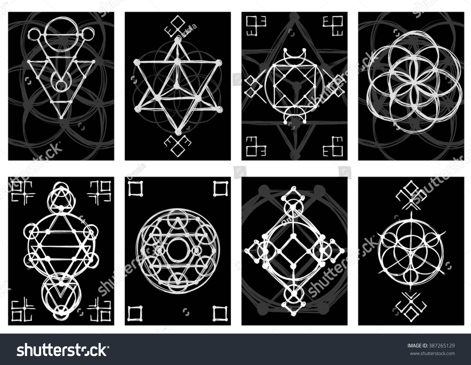 Stock Illustration Volleyball Tribal Abstract Vector: Set Of Cards With Abstract Hand Sketched Sacred Geometry